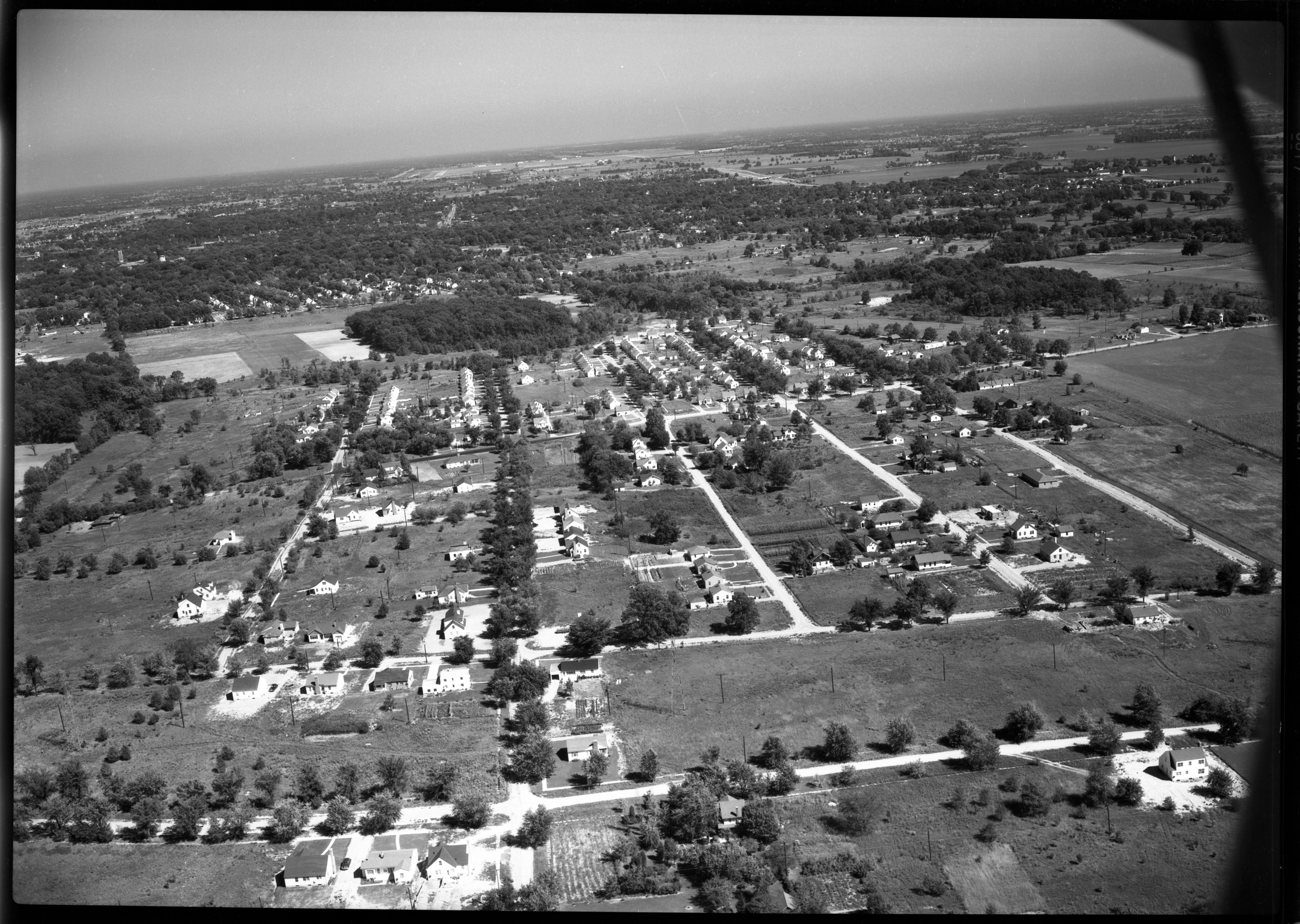 Aerial Photograph of New Housing Developments in Ypsilanti, September 1949 image
