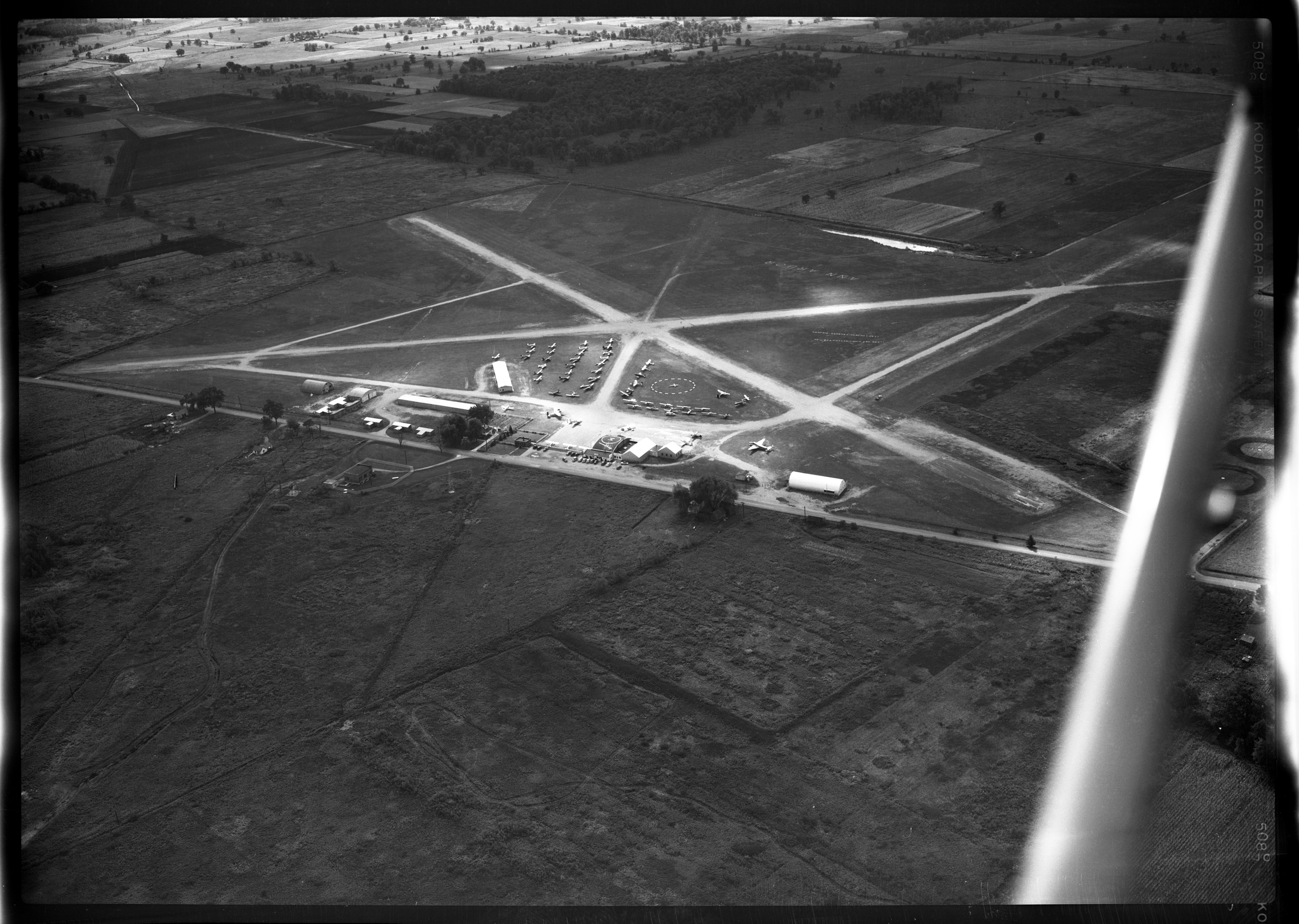 Aerial Photograph of Ann Arbor Airport, September 1949 image