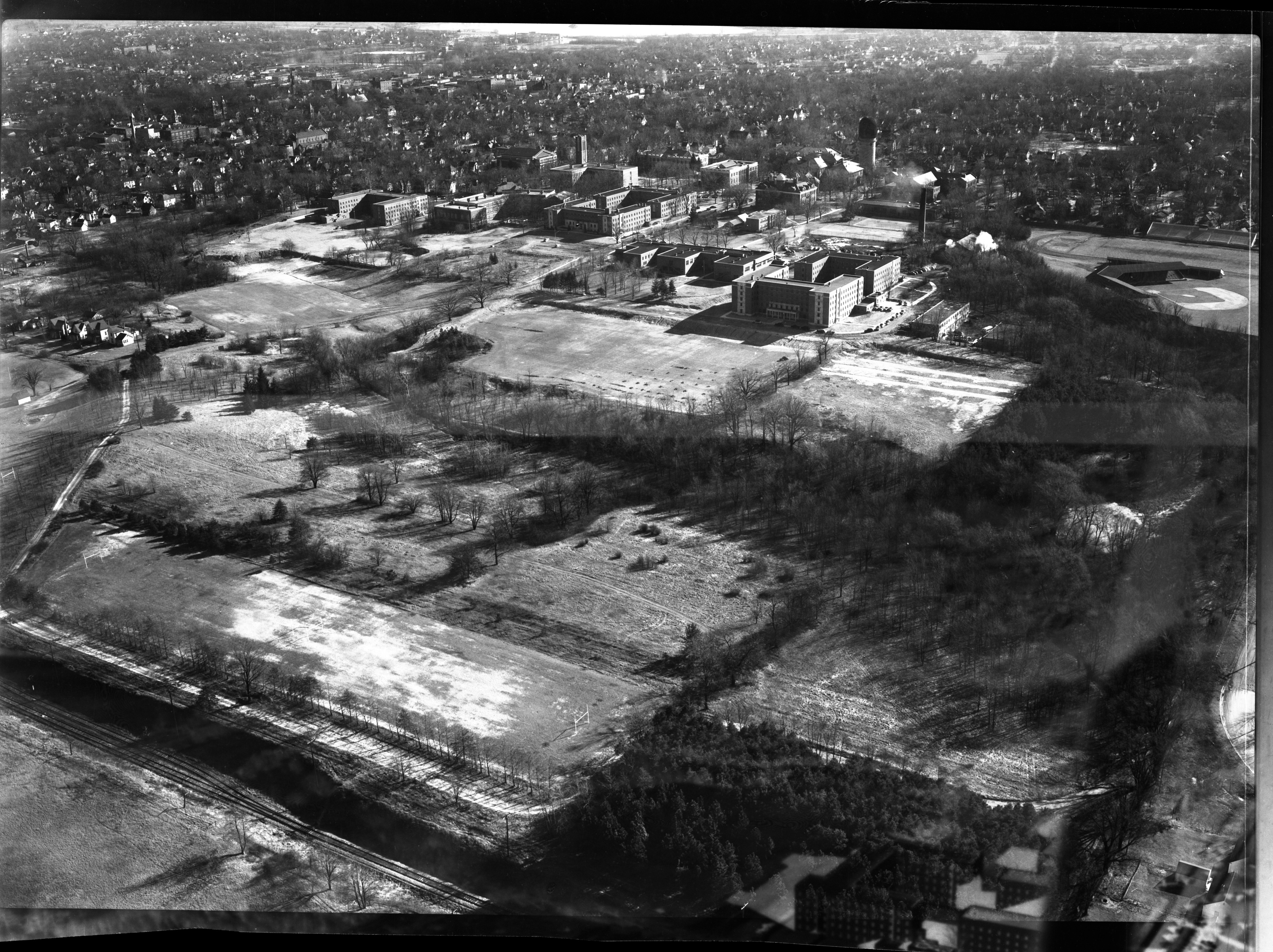 Aerial Photograph of Proposed Golf Course at State Normal College, Ypsilanti, January 1950 image