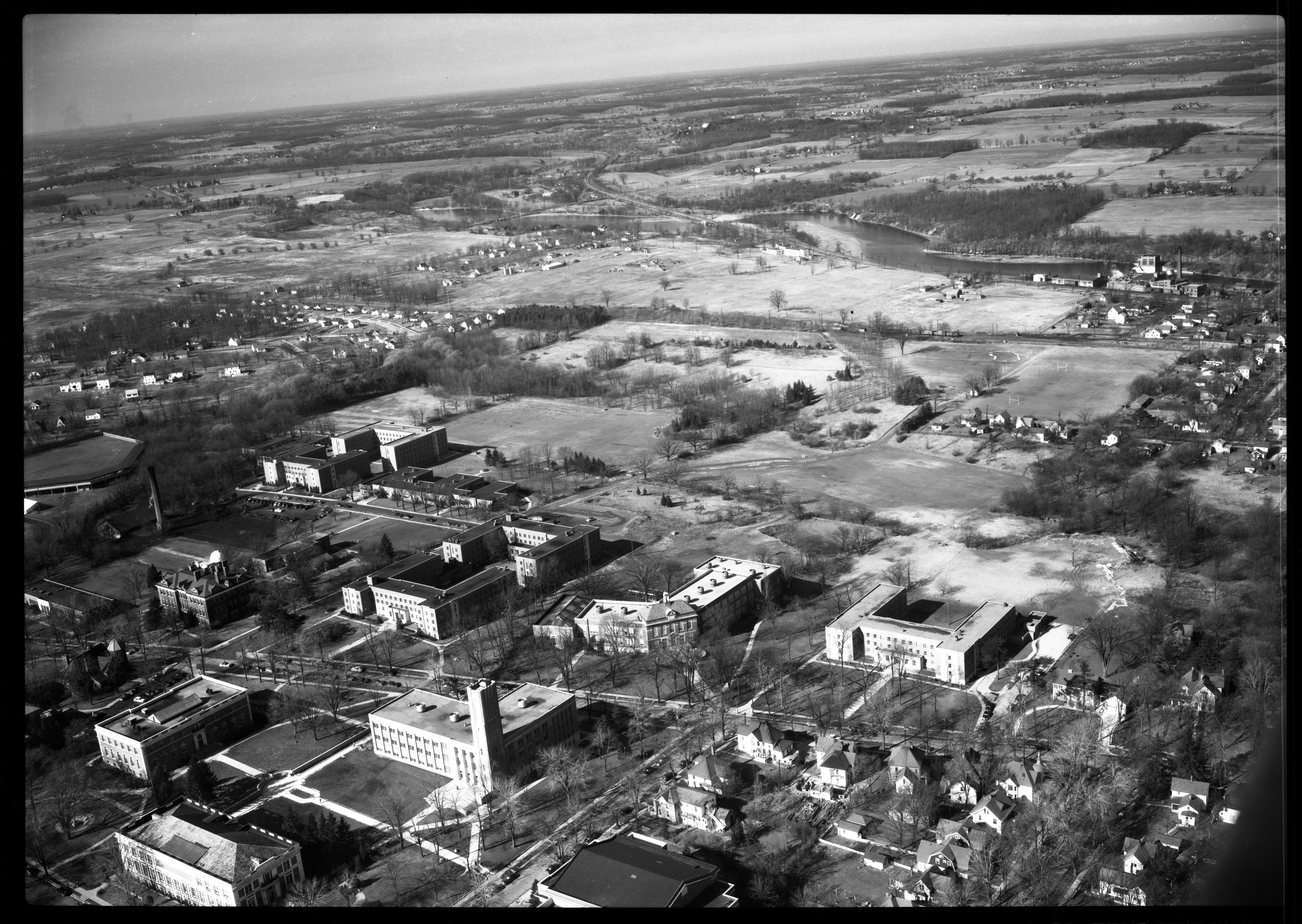 Aerial Photograph of the State Normal College Golf Course, Ypsilanti, February 1950 image