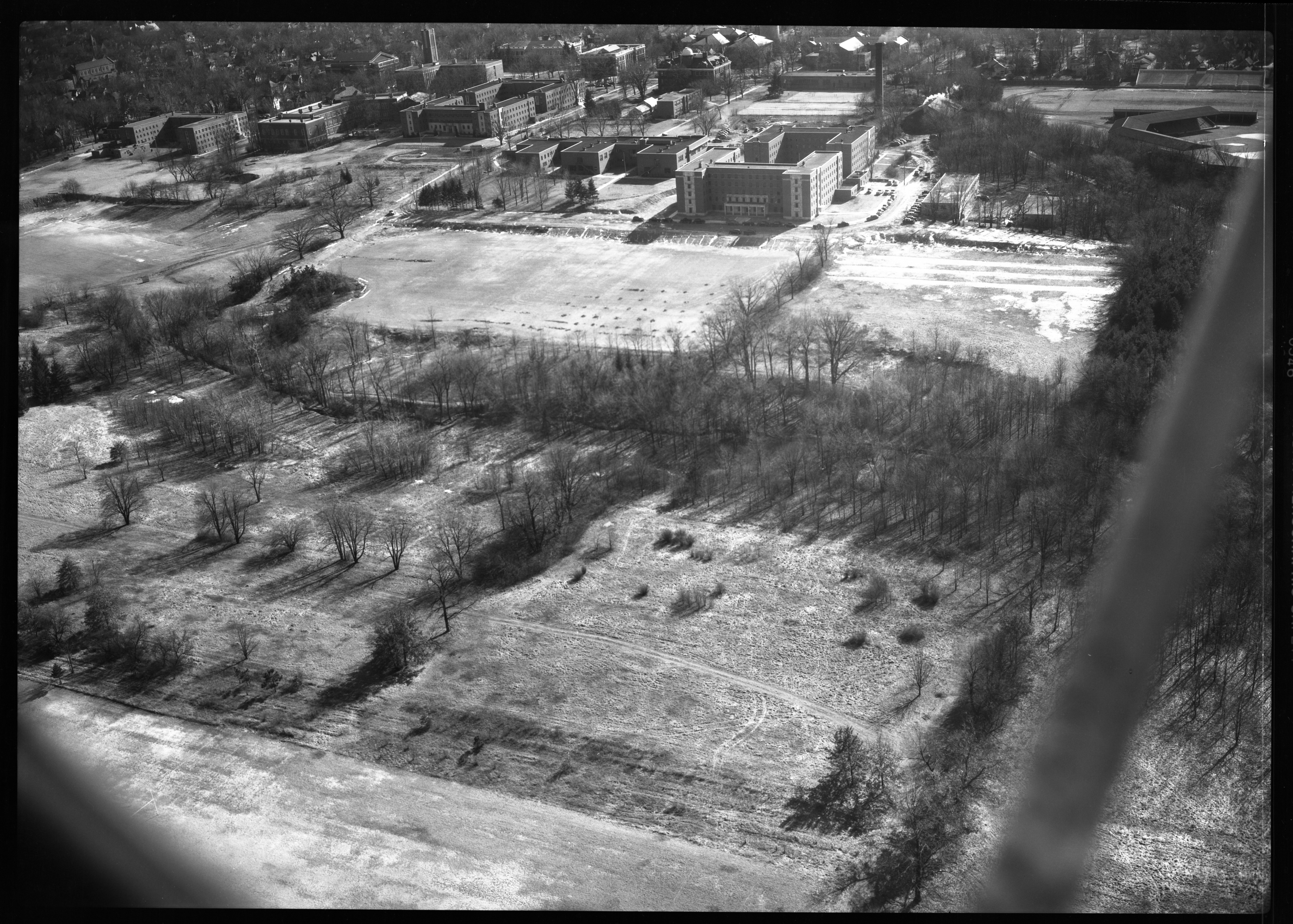 Aerial Photograph Looking South from the State Normal College Golf Course, Ypsilanti, February 1950 image