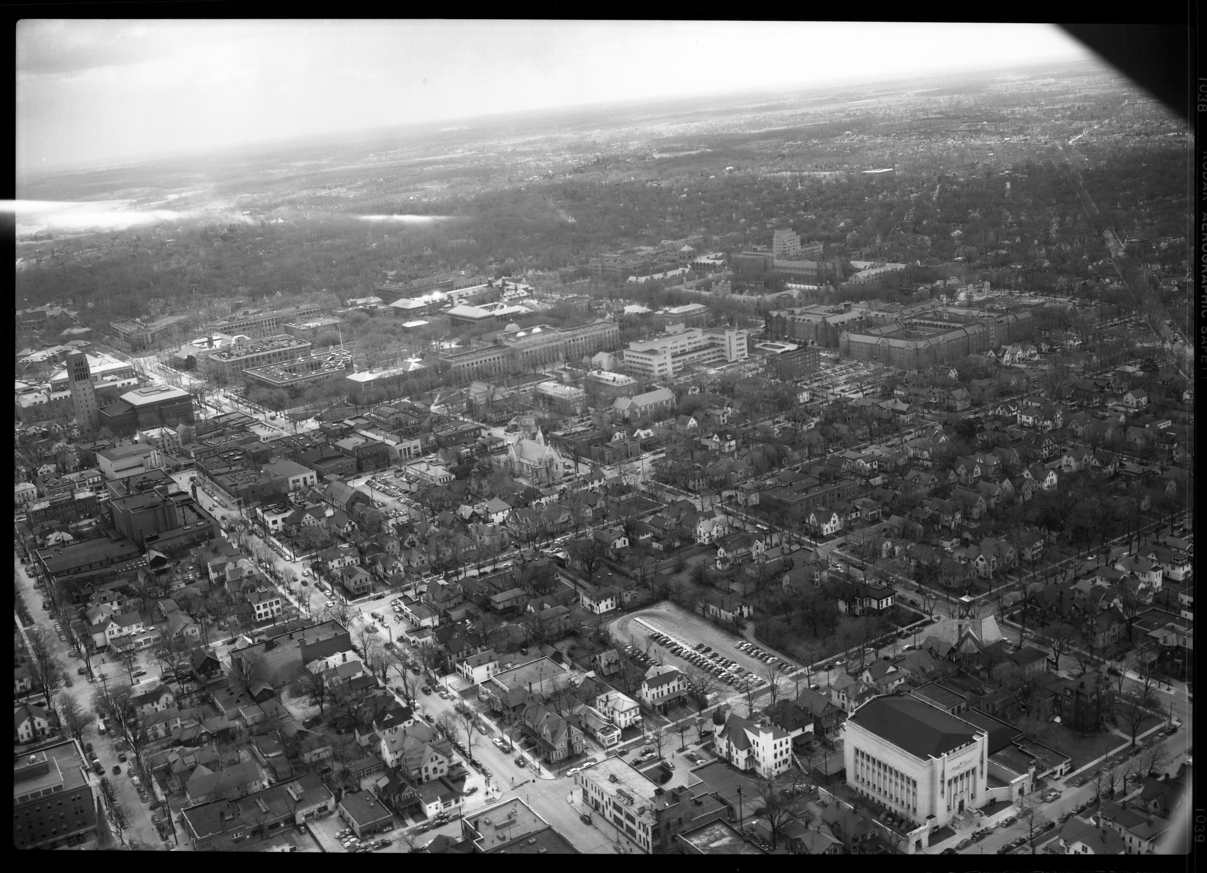 Aerial View from Downtown Ann Arbor looking southeast toward campus, April 1950 image