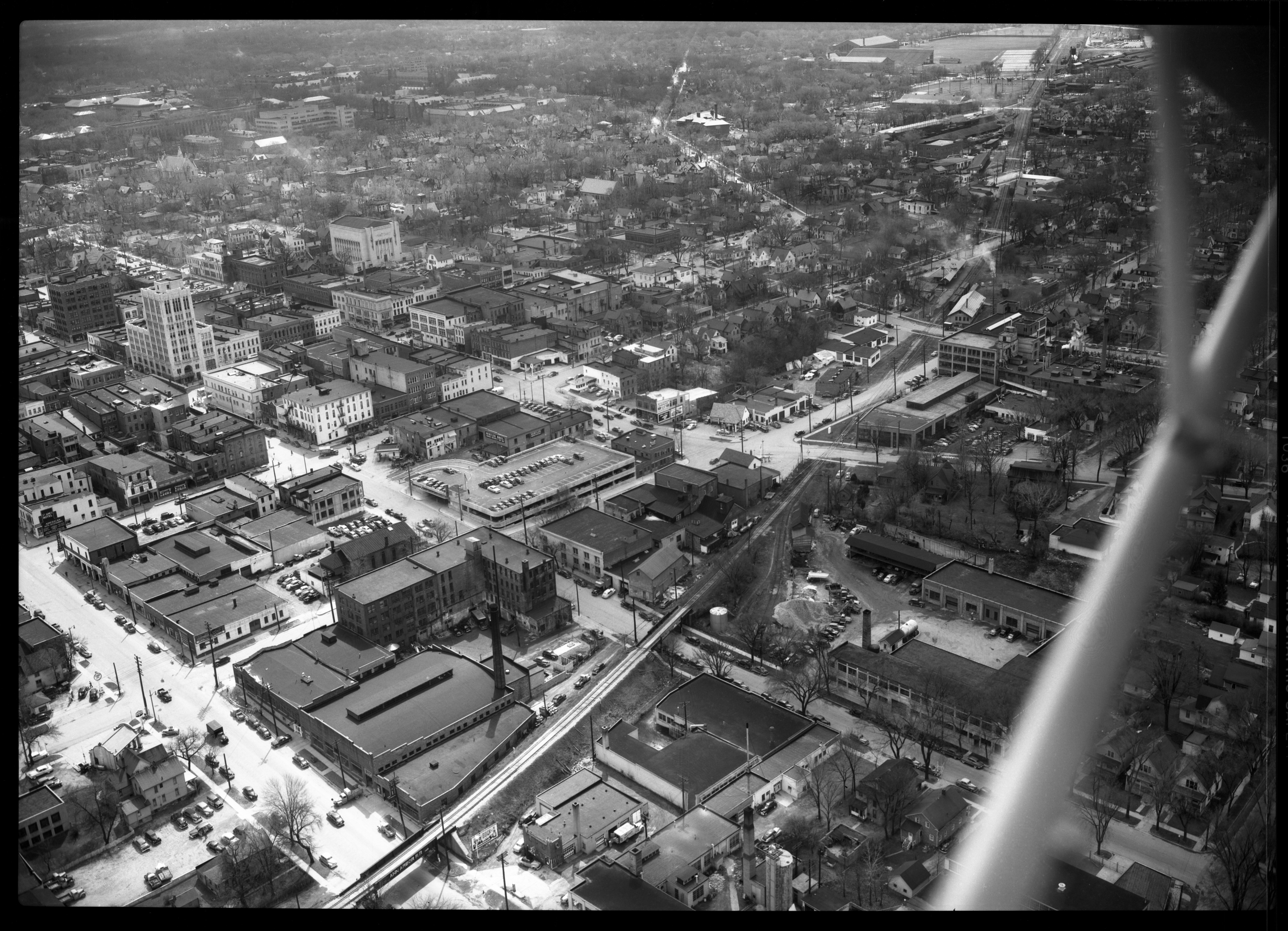 Aerial View with Parking Structure on Washington St, April 1950 image