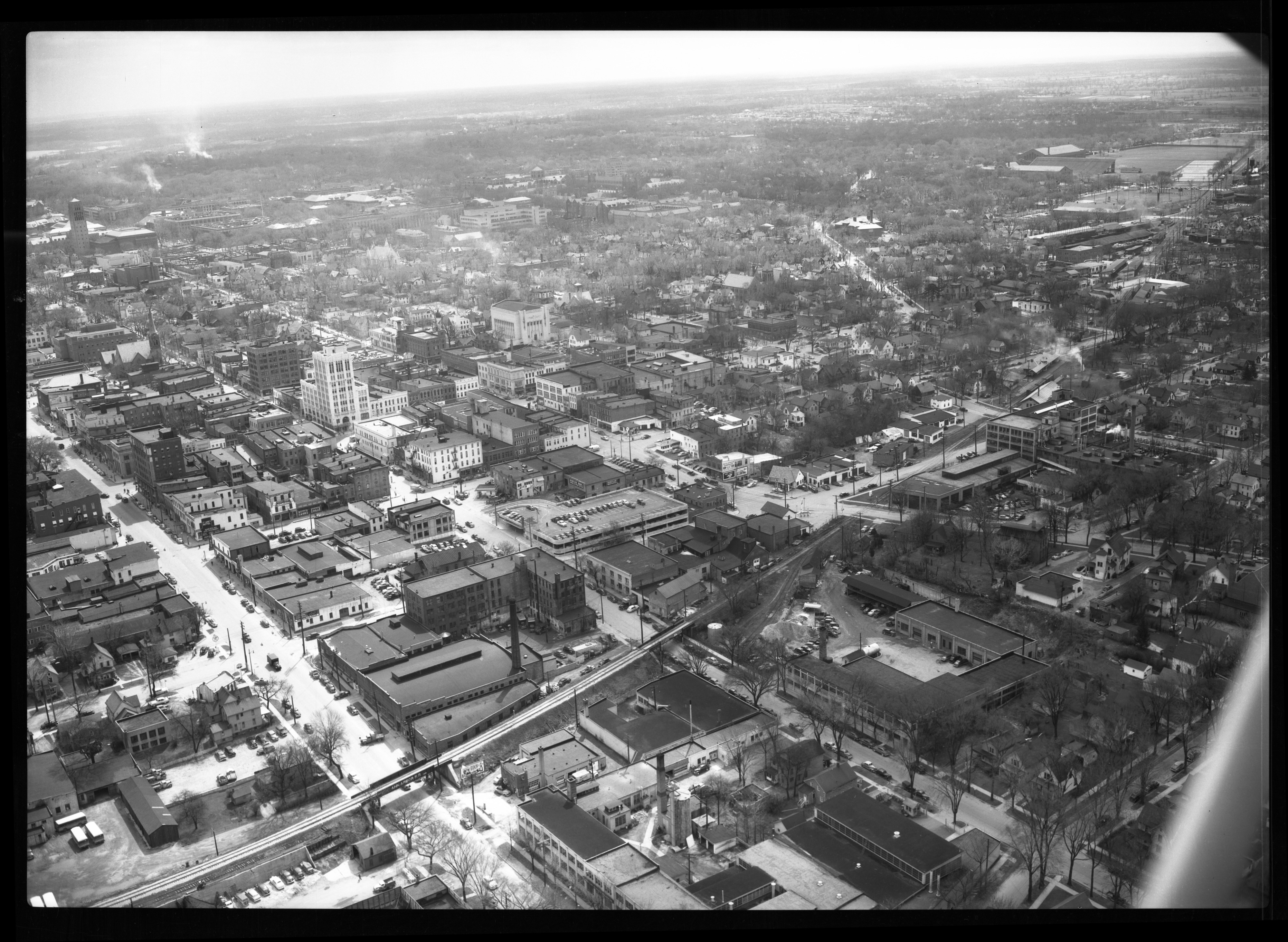 Aerial View of Downtown Ann Arbor, Looking Southeast, April 1950 image