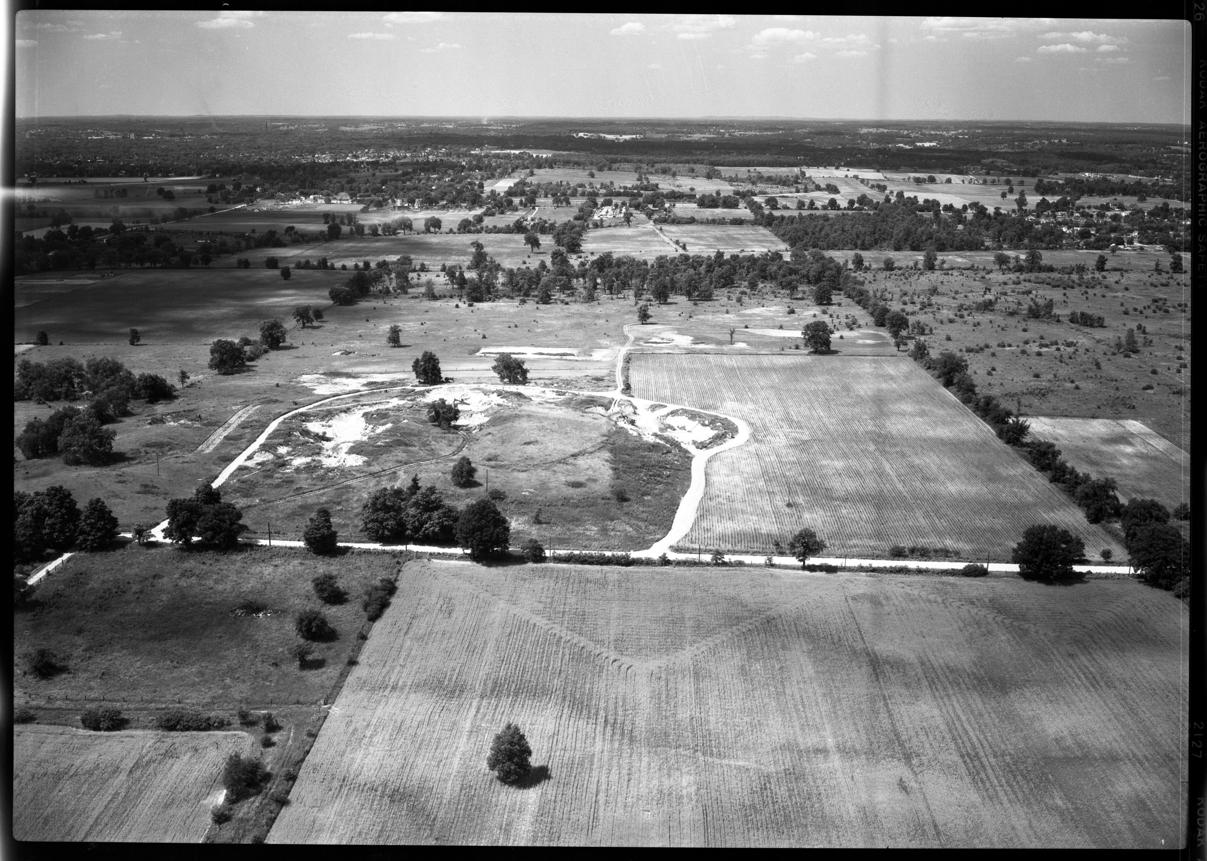 Aerial Photograph of a Proposed East Ann Arbor Sewage Disposal Site, July 1950 image