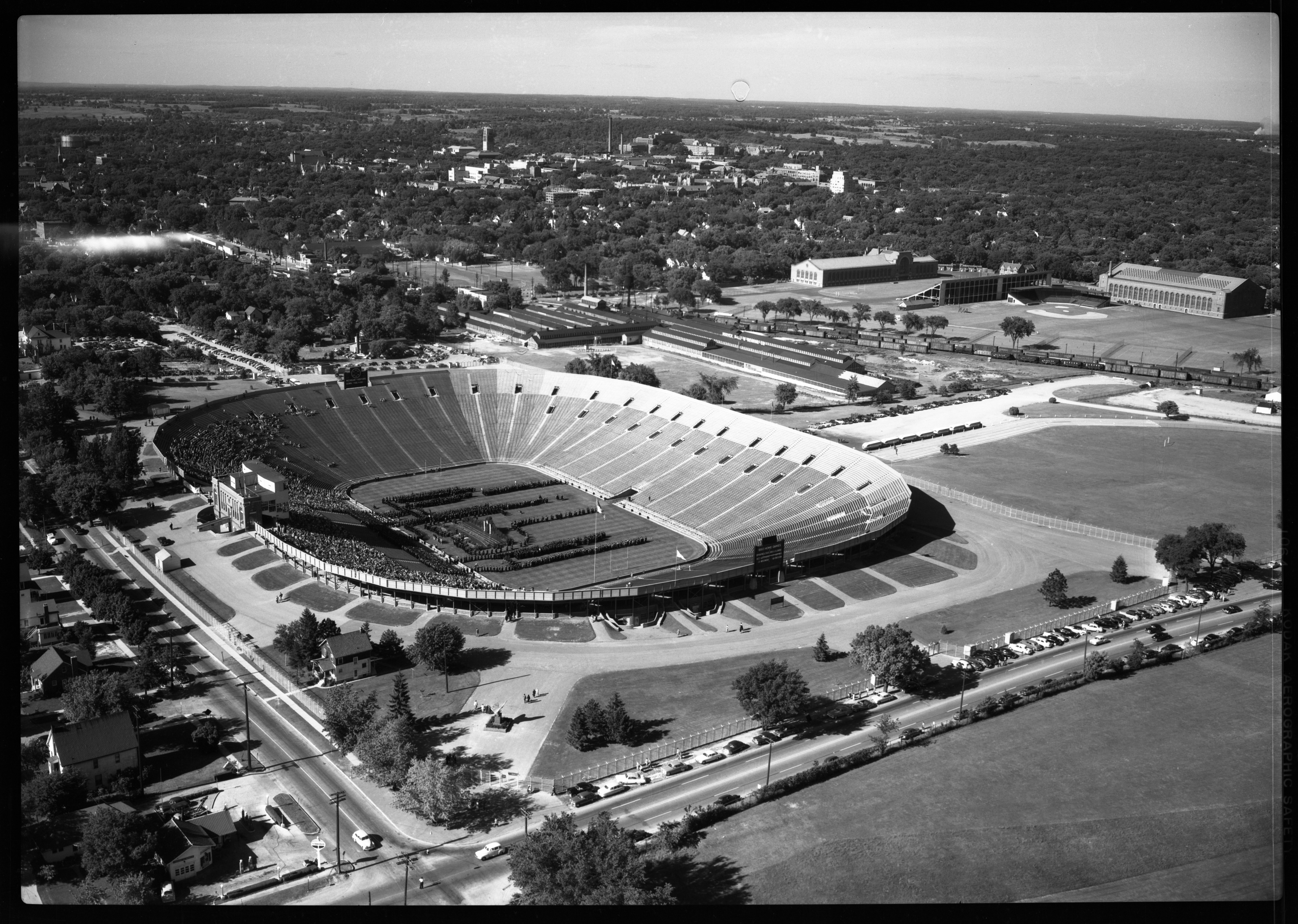 Aerial view of University of Michigan Graduation at Michigan Stadium, June 1950 image
