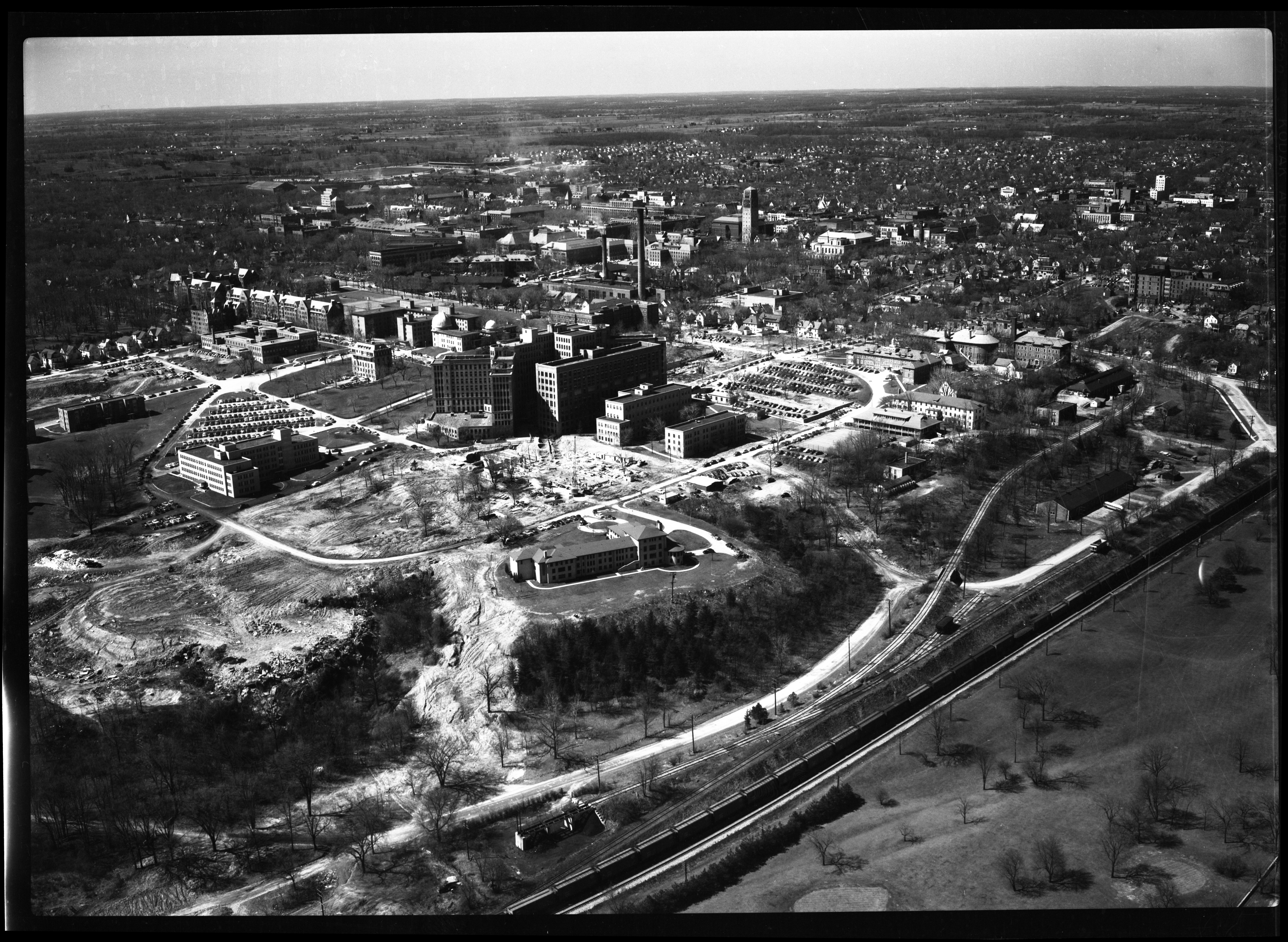 Aerial View of University Hospital Outpatient Construction, April 1951 image