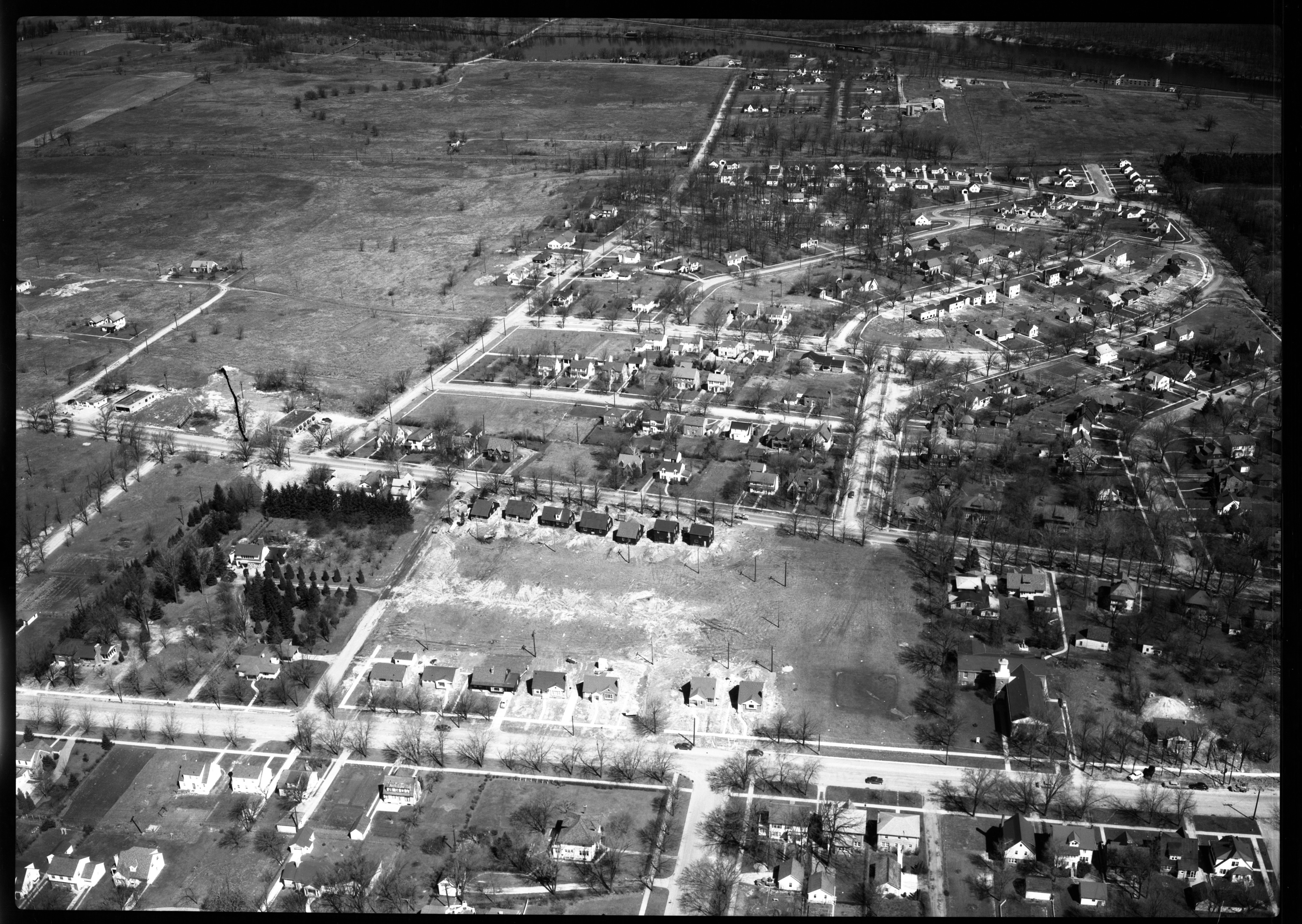 Aerial Photograph of Building Site between Washtenaw and Packard Rds., April 1951 image