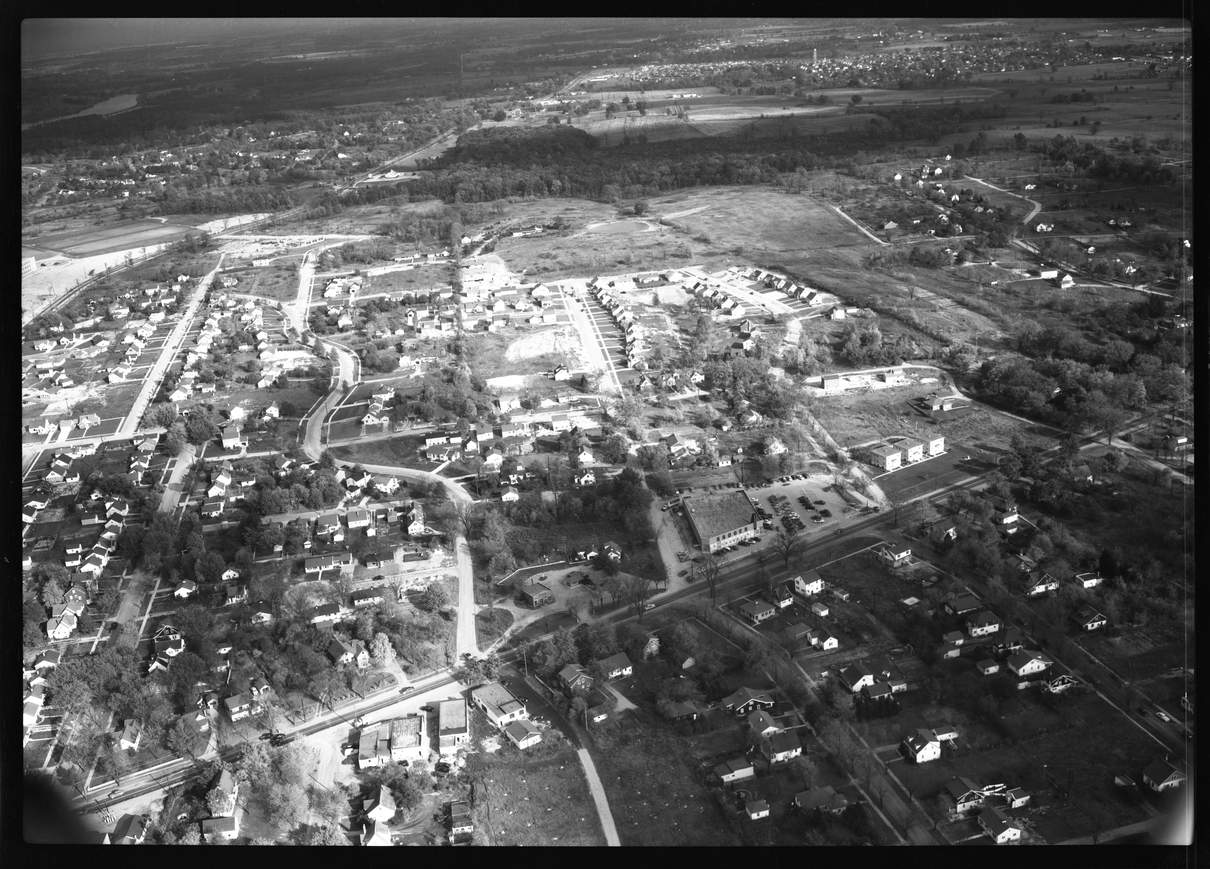 Aerial Photograph of Ann Arbor Neighborhood South of Brockman Blvd., September 1951 image