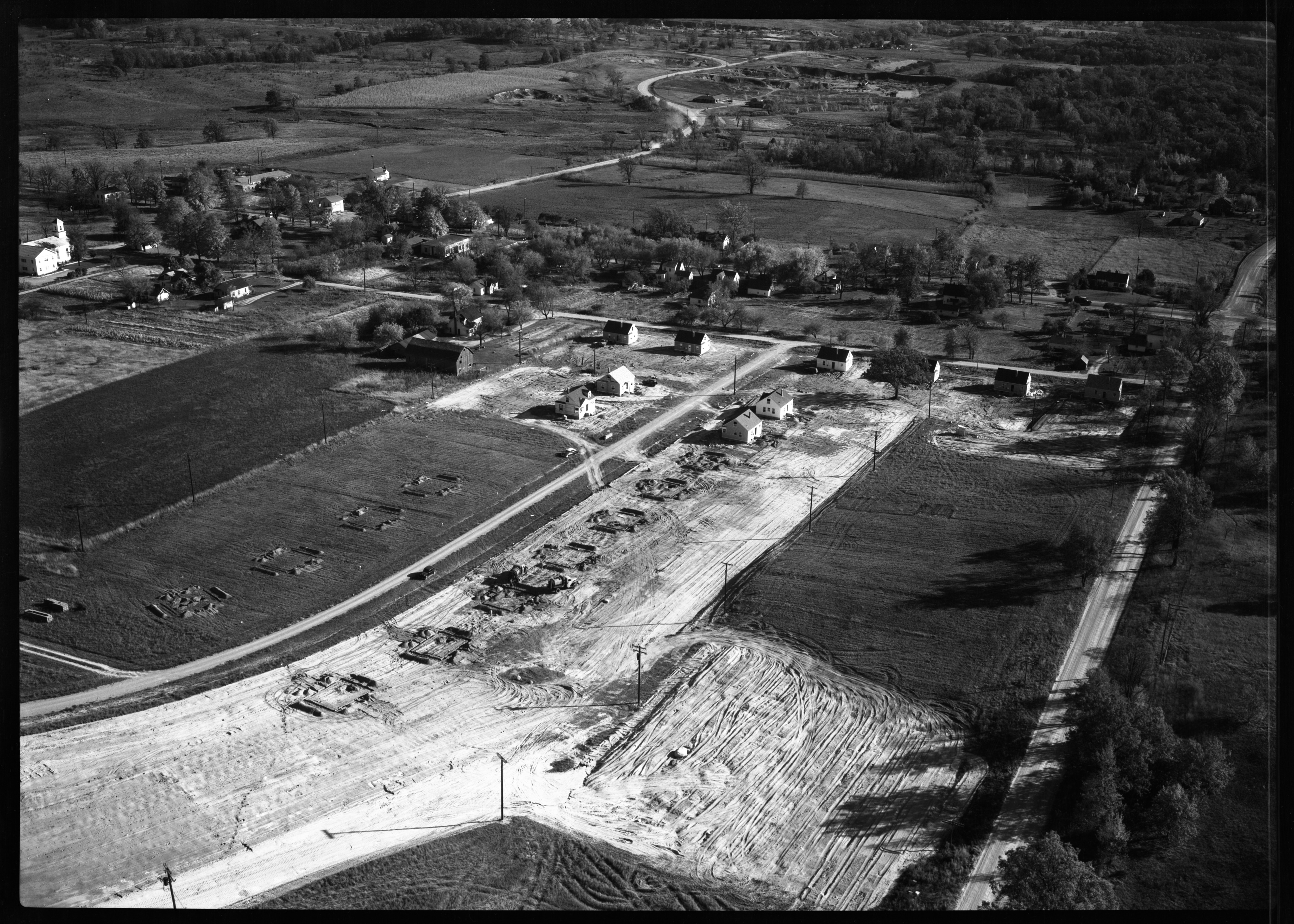Aerial Photograph of Veteran's Housing Project in Dixboro, October 1951 image