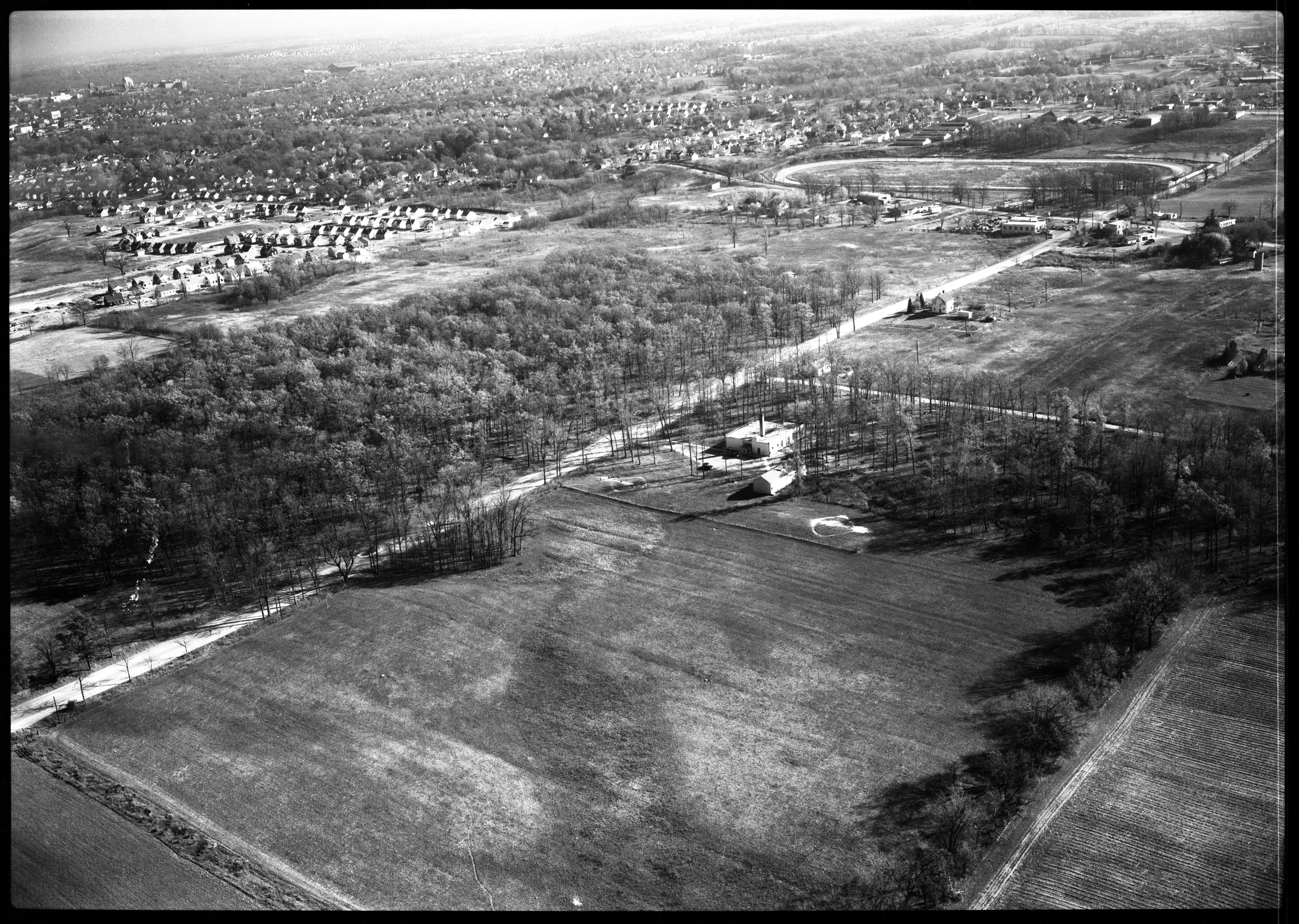 Aerial View of Fritz School Area and Fairgrounds (Future Veterans Memorial Park), October 1951 image