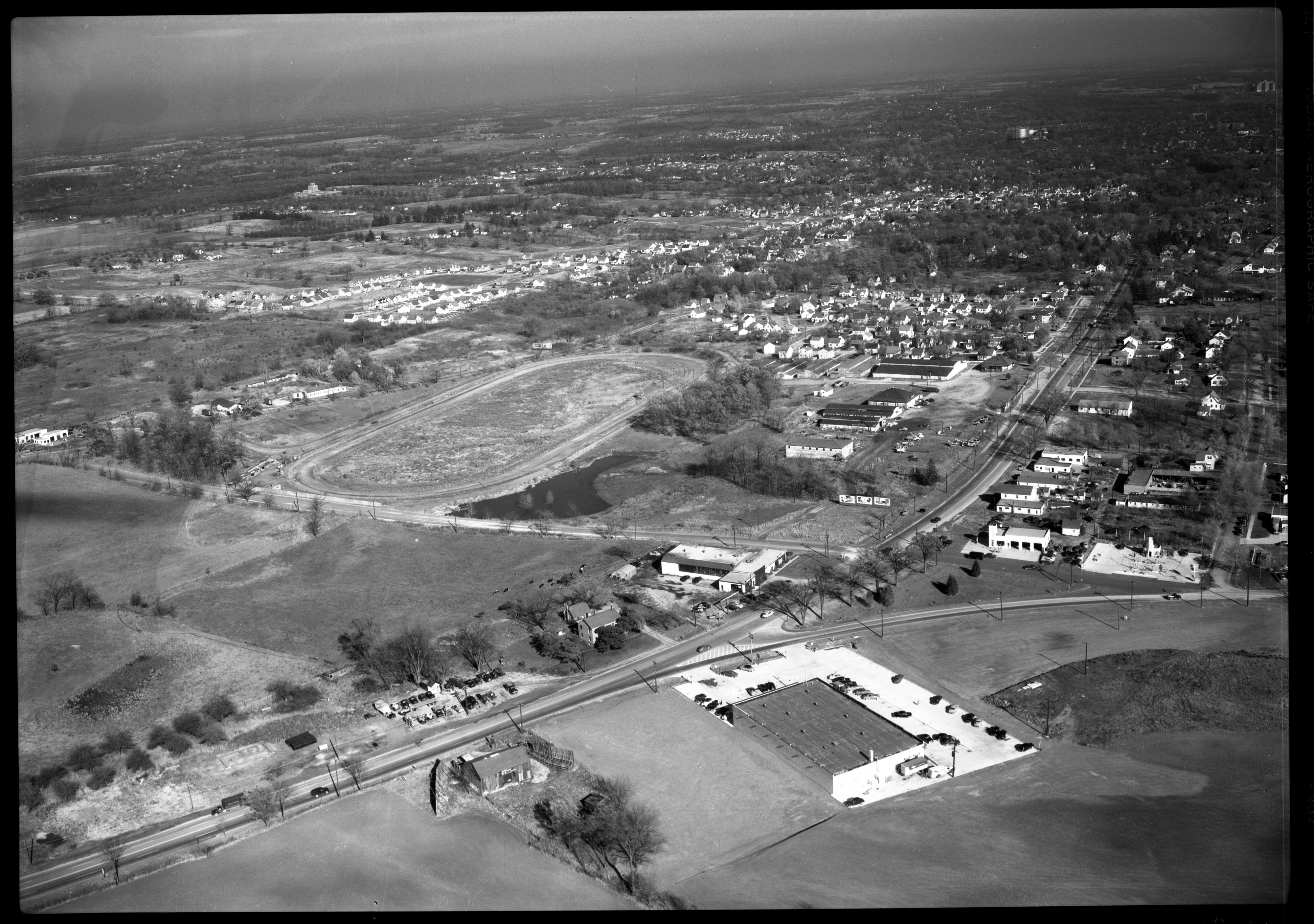 Washtenaw County Fairgrounds from the air, October 1951 image