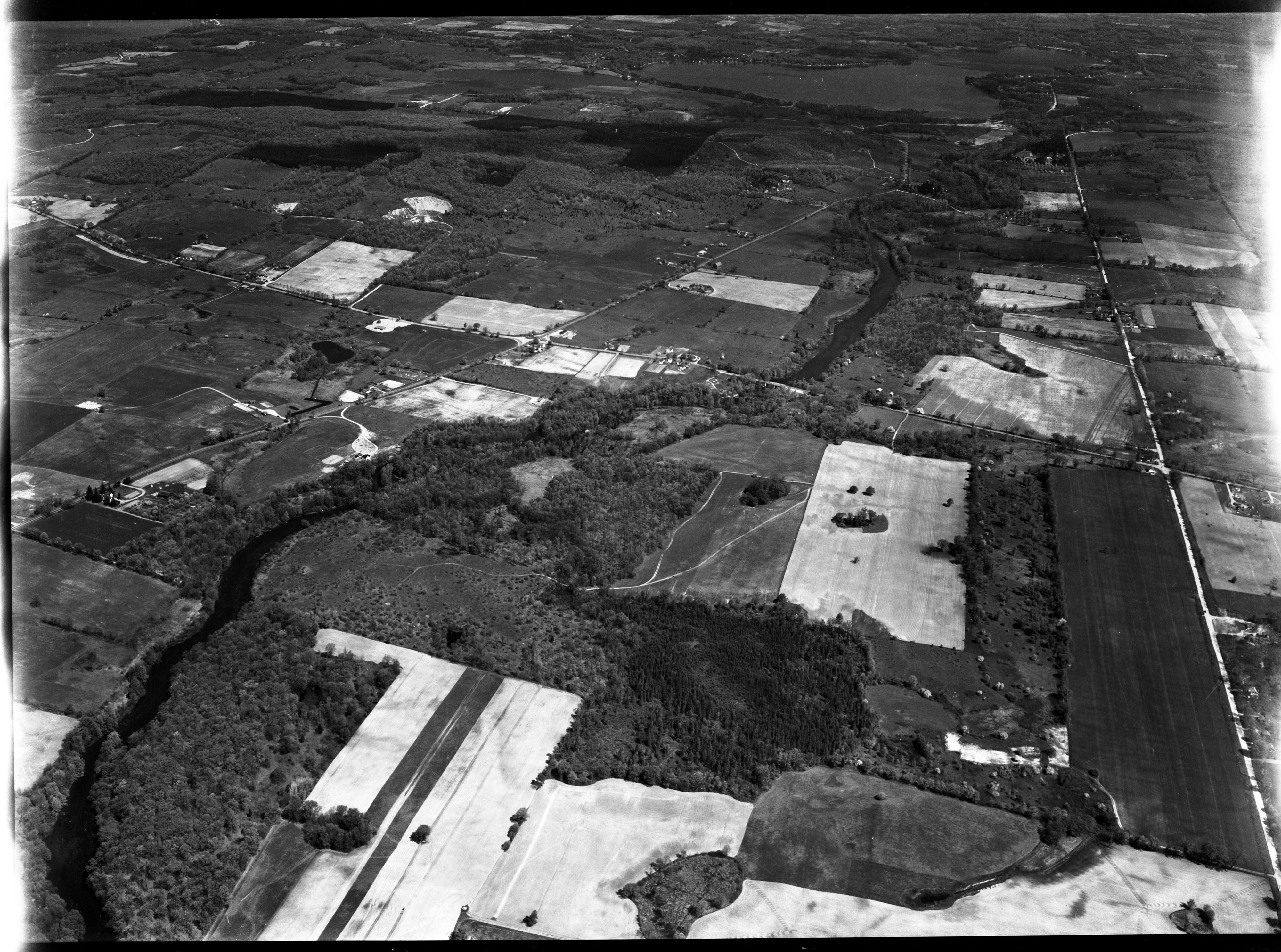 Aerial Photograph of Huron River Parkway North of Dexter to Portage Lake, May 1953 image