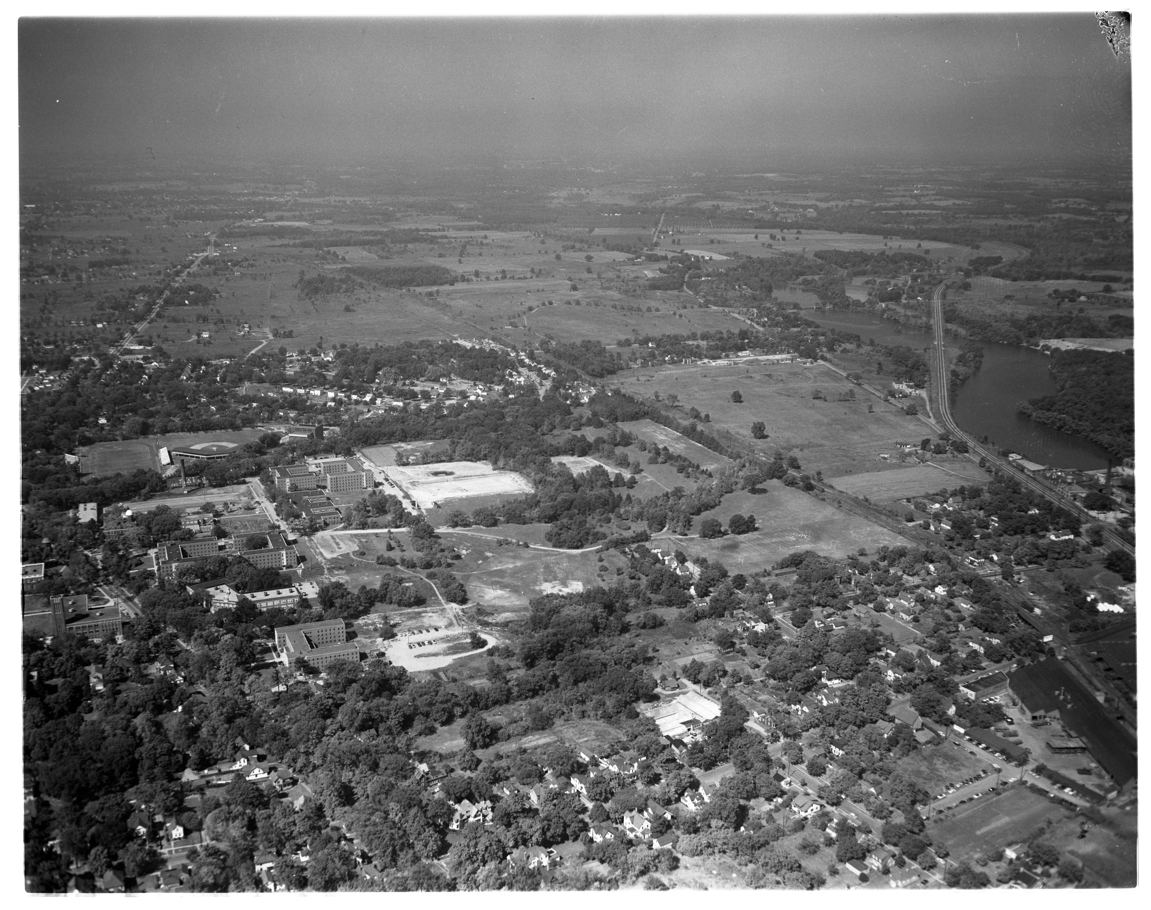 Aerial Photograph of Michigan State Normal College, Ypsilanti, September 1954 image