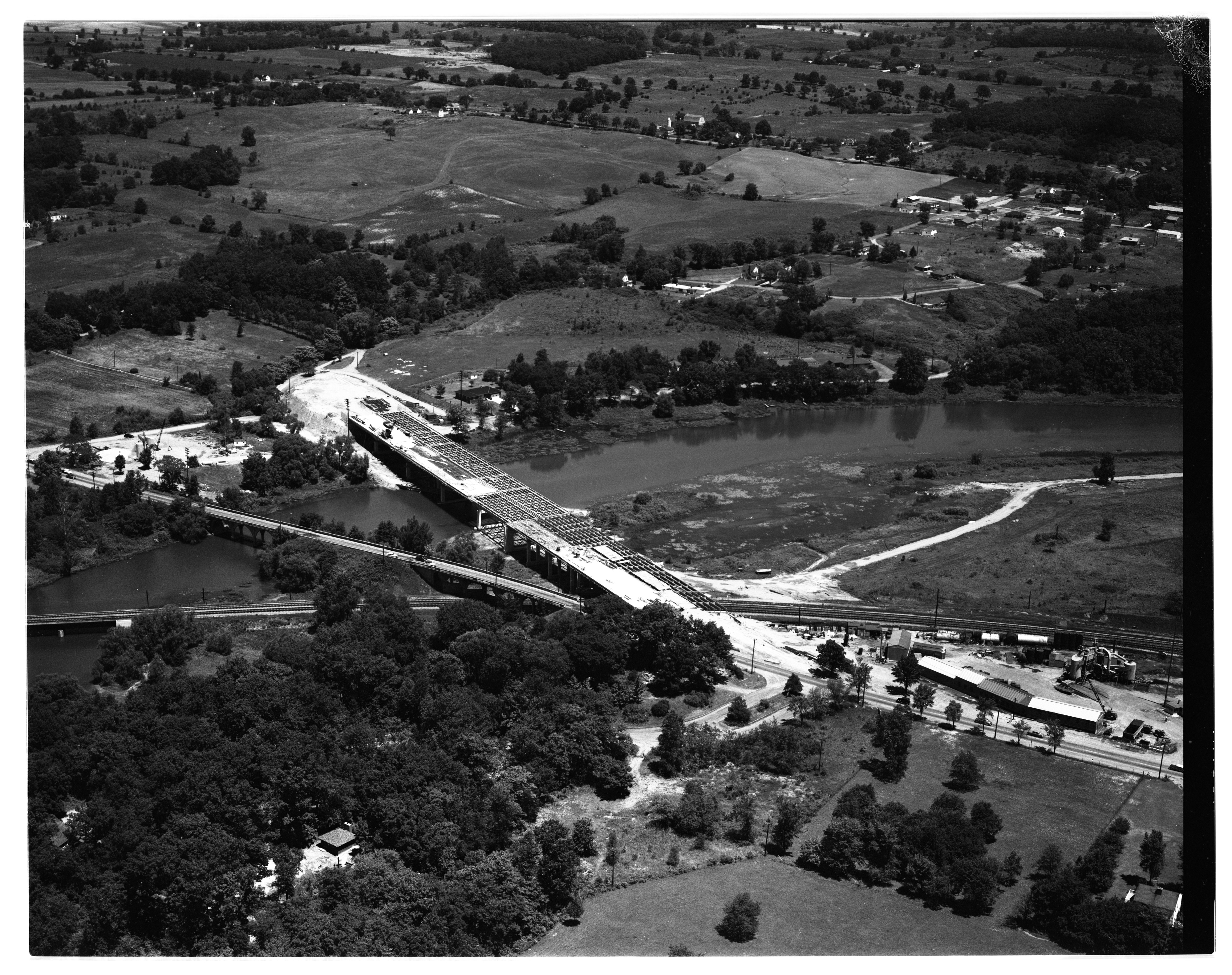 Aerial Photograph of Whitmore Lake Bridge Construction, July 1955 image