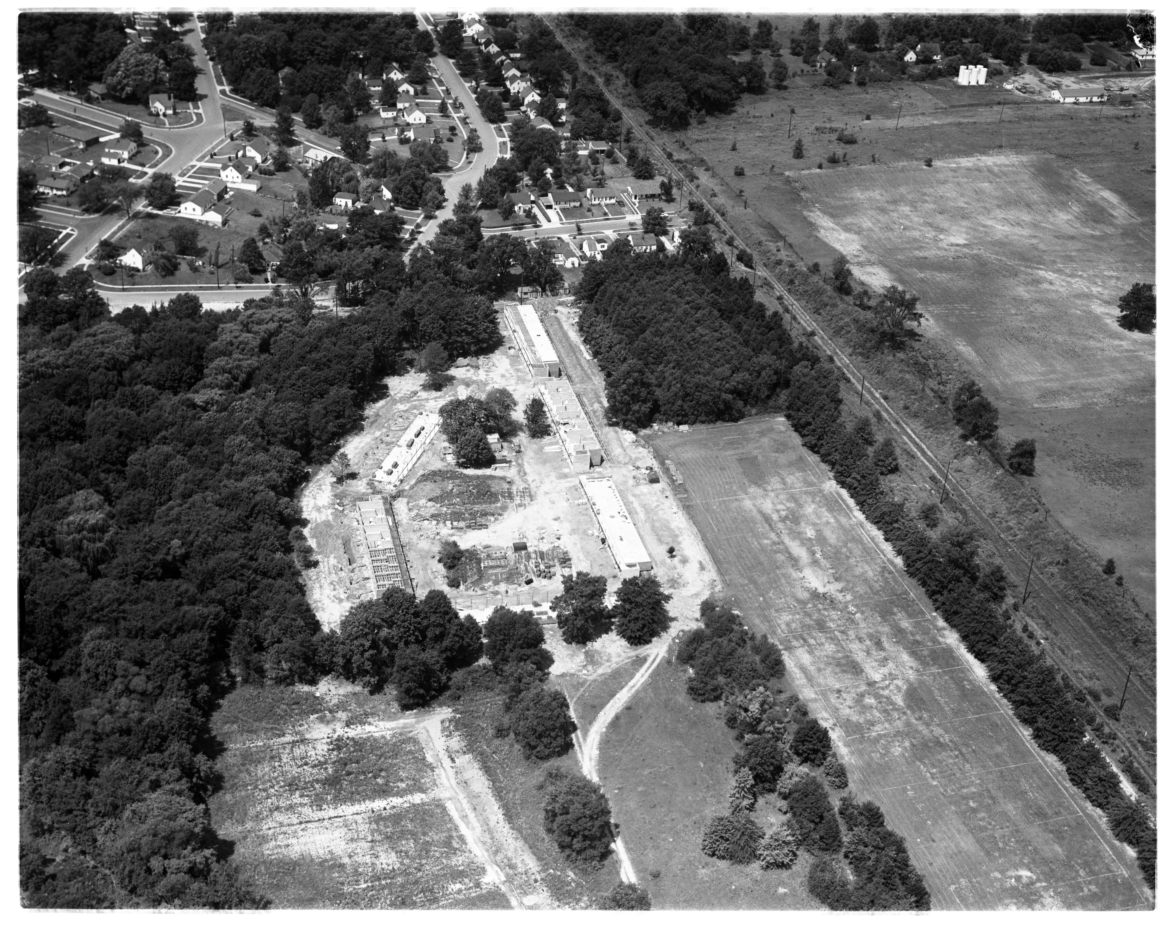 Aerial Photograph of Michigan State Normal College Apartment Buildings, Ypsilanti, July 1955 image