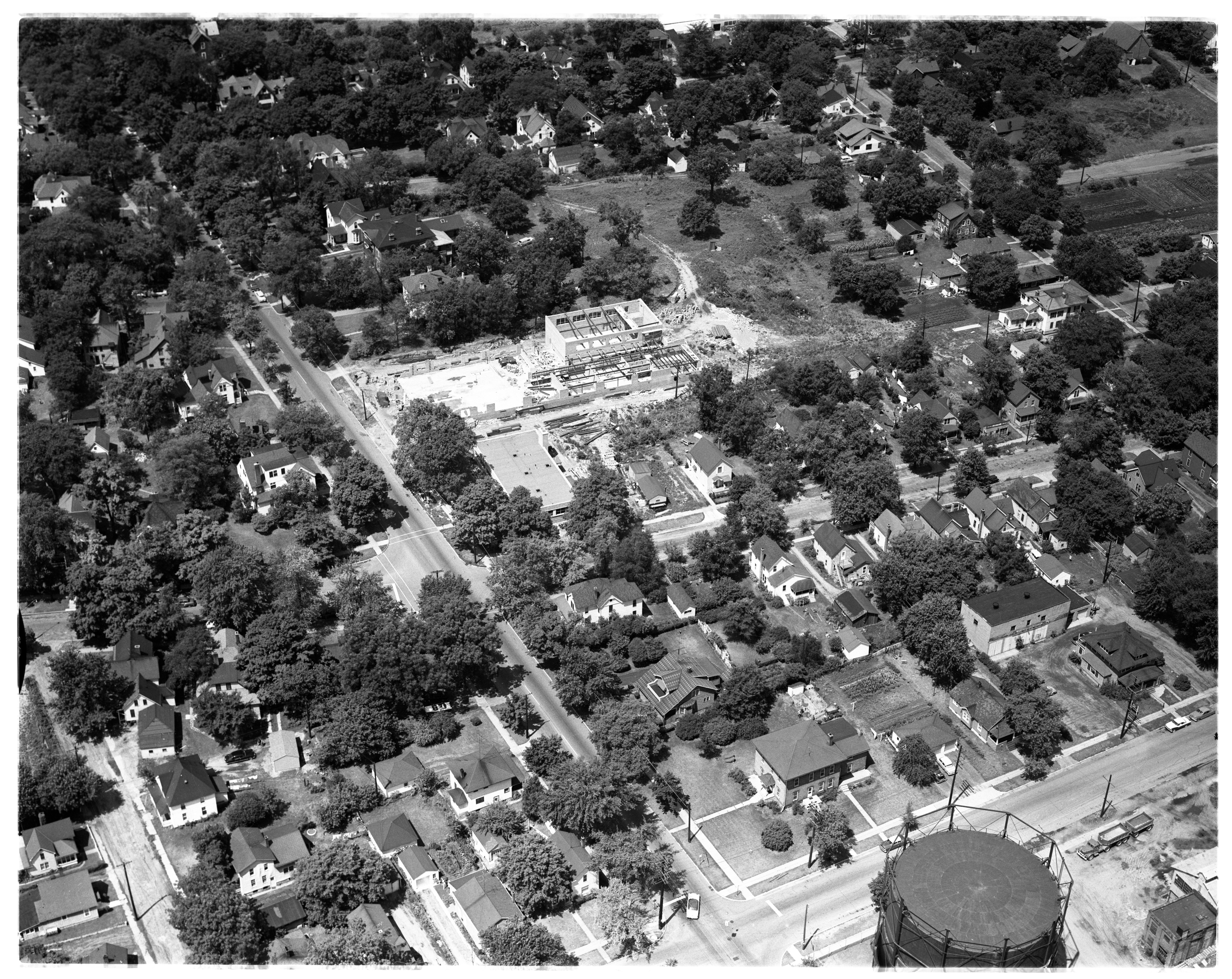Aerial Photograph of Construction of a Ypsilanti School, 1955 image
