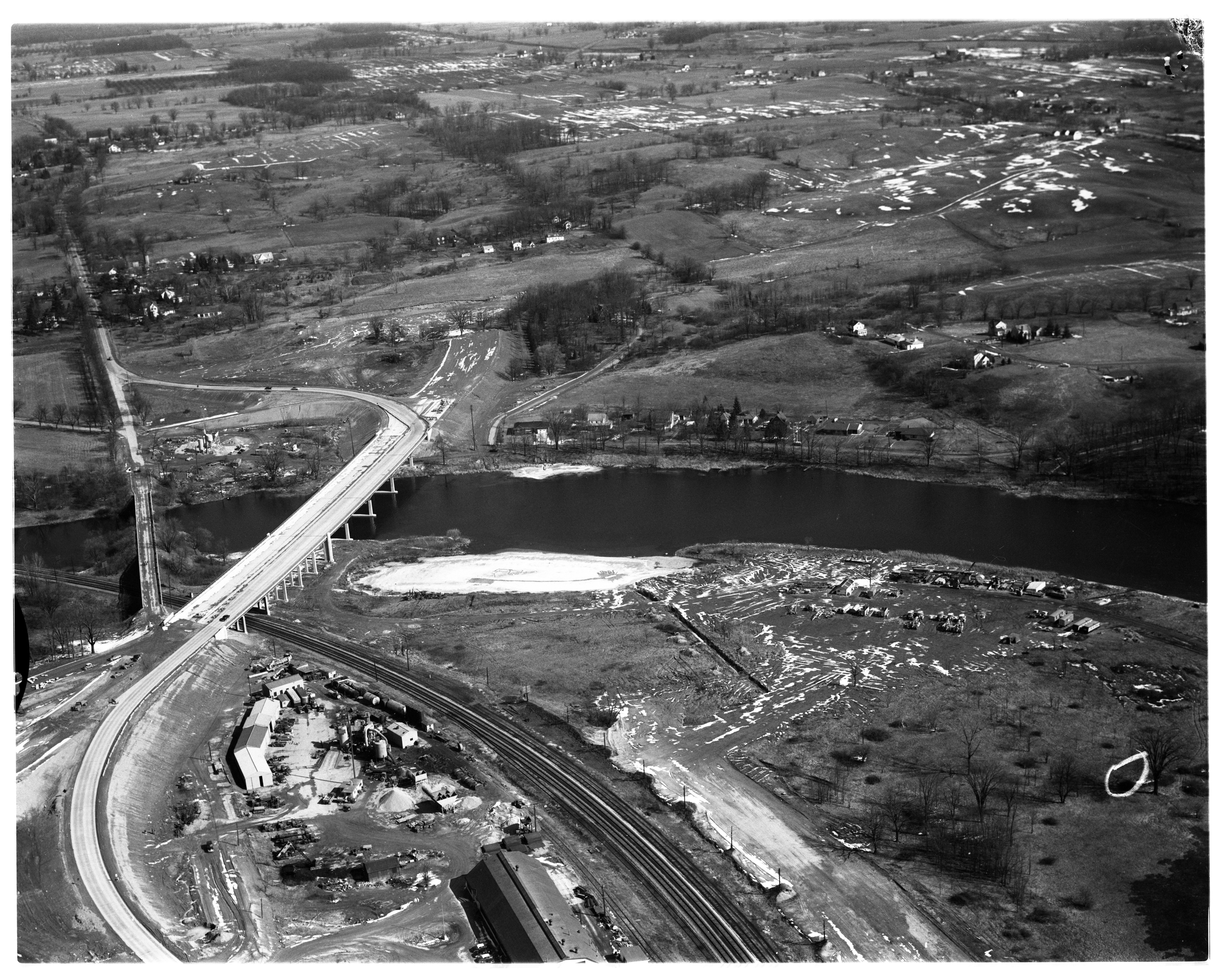 Aerial Photograph of the Huron Valley Bridge, March 1956 image