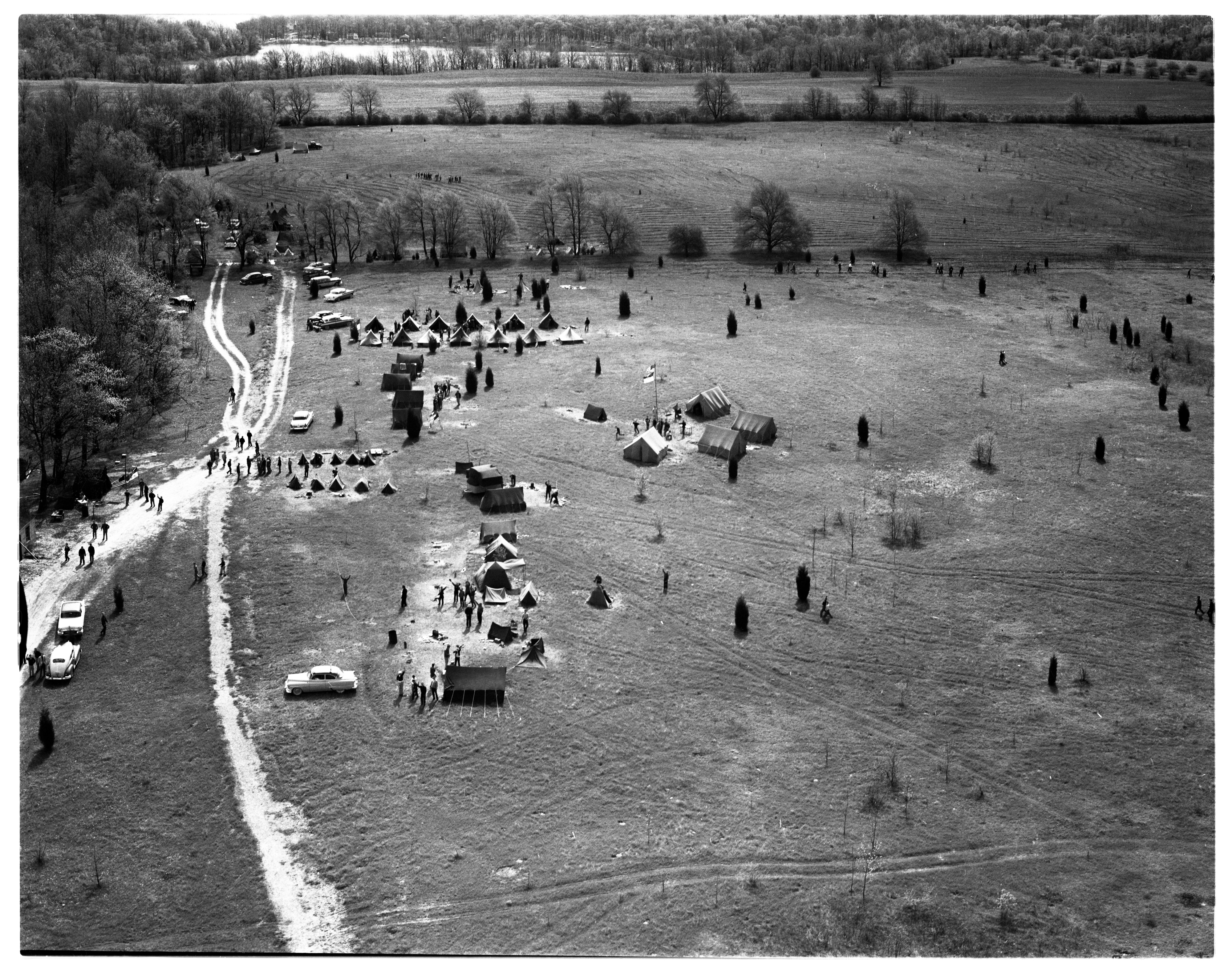 Aerial Photograph of the Boy Scout Camp at Bruin Lake, May 1956 image