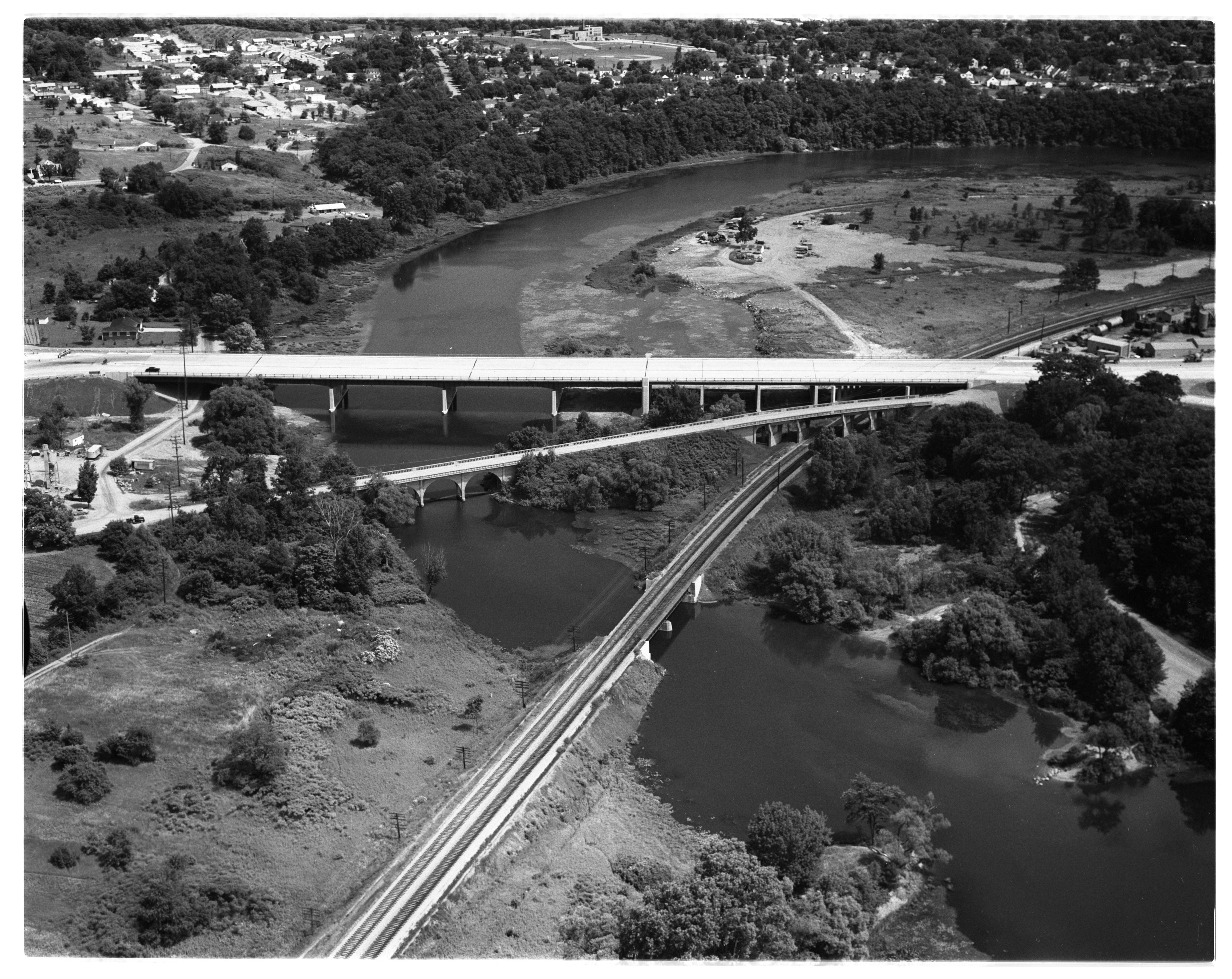 Aerial Photograph of Huron Valley Bridge, July 1956 image