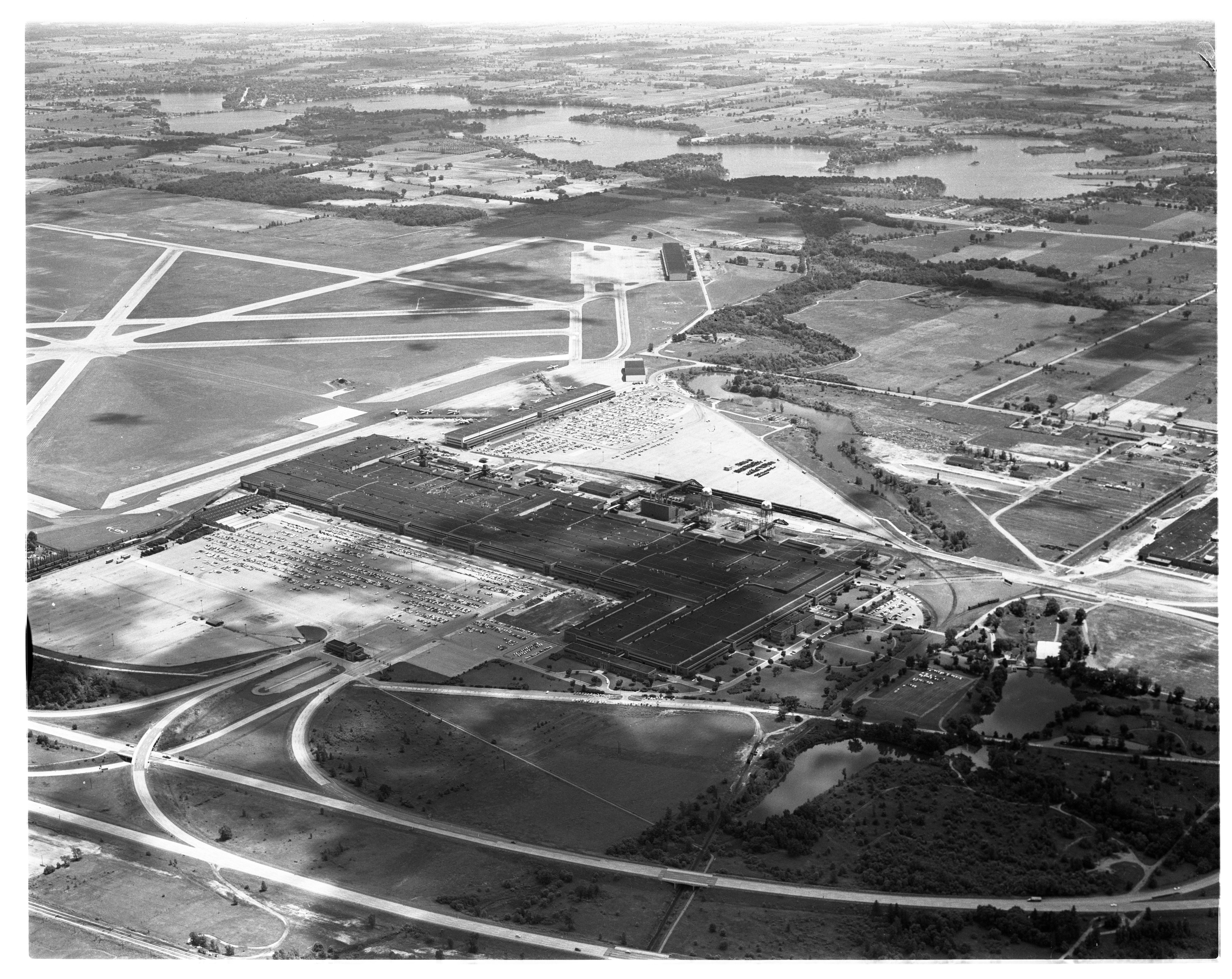 Aerial Photograph of the Willow Run General Motors Plant, Ypsilanti Township, July 1956 image