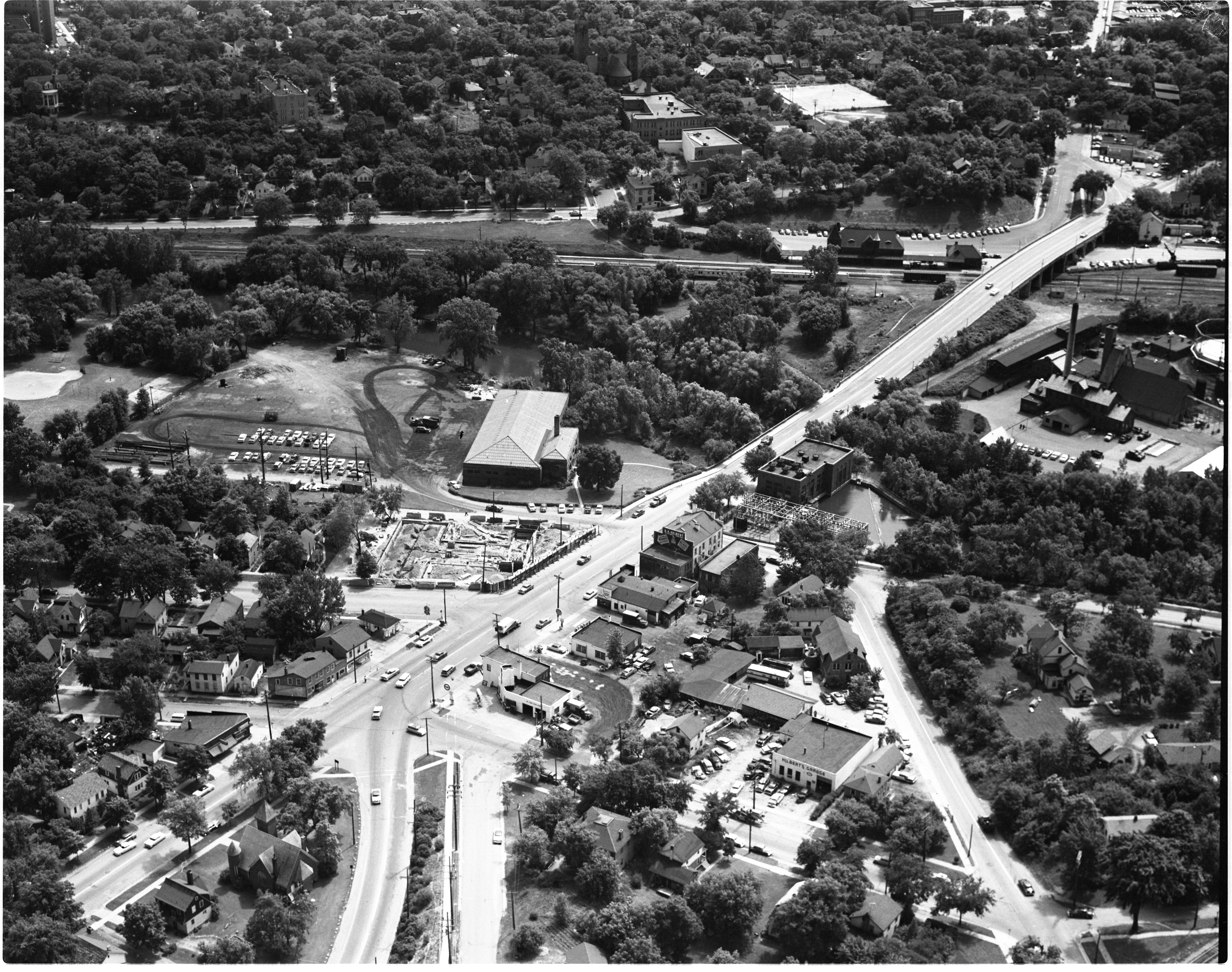 Aerial View Of University Motel Construction - Broadway Between Wall & Canal Streets And Broadway Bridge, July 1956 image