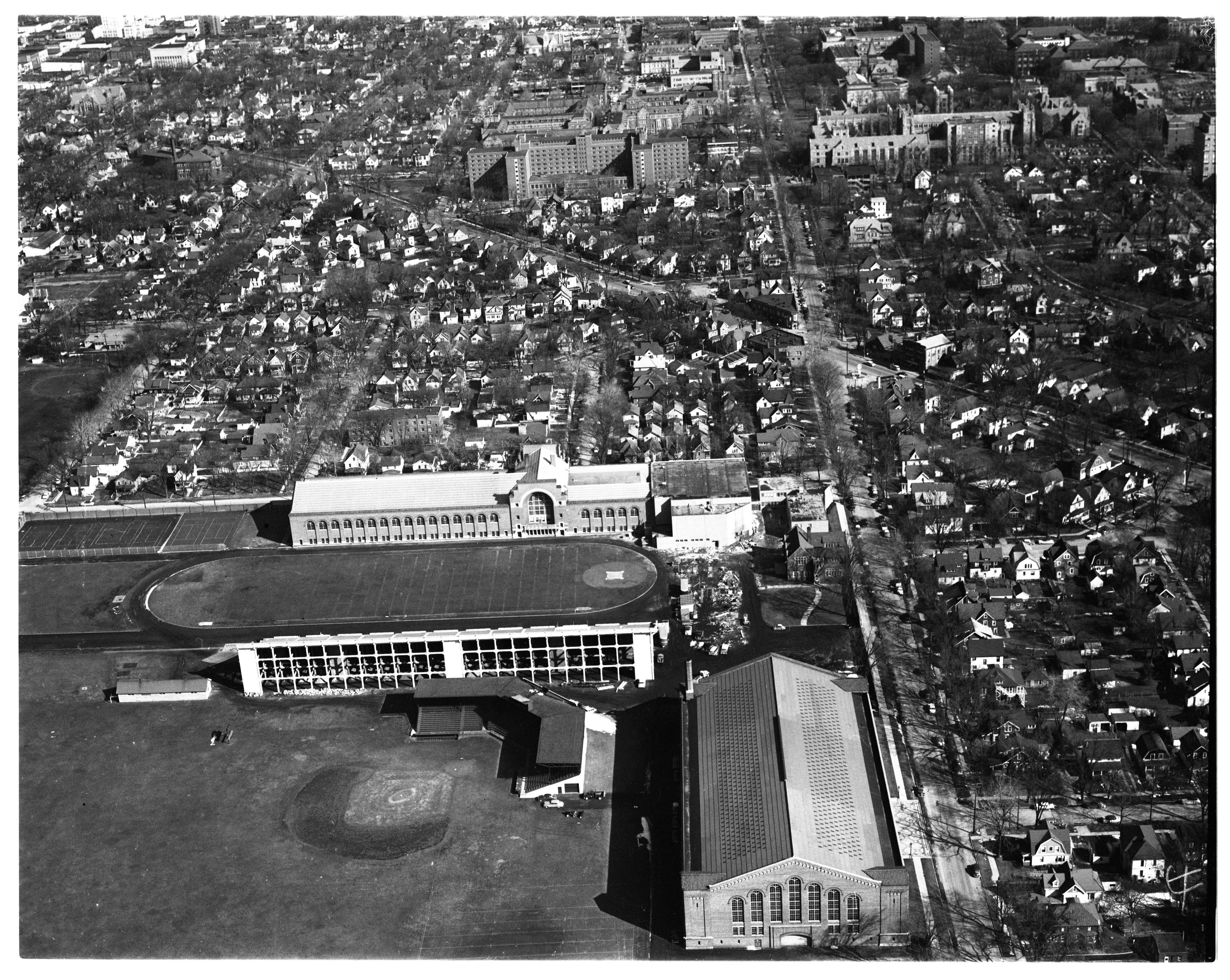 Aerial Photograph of Ferry Field, University of Michigan, March 1956 image