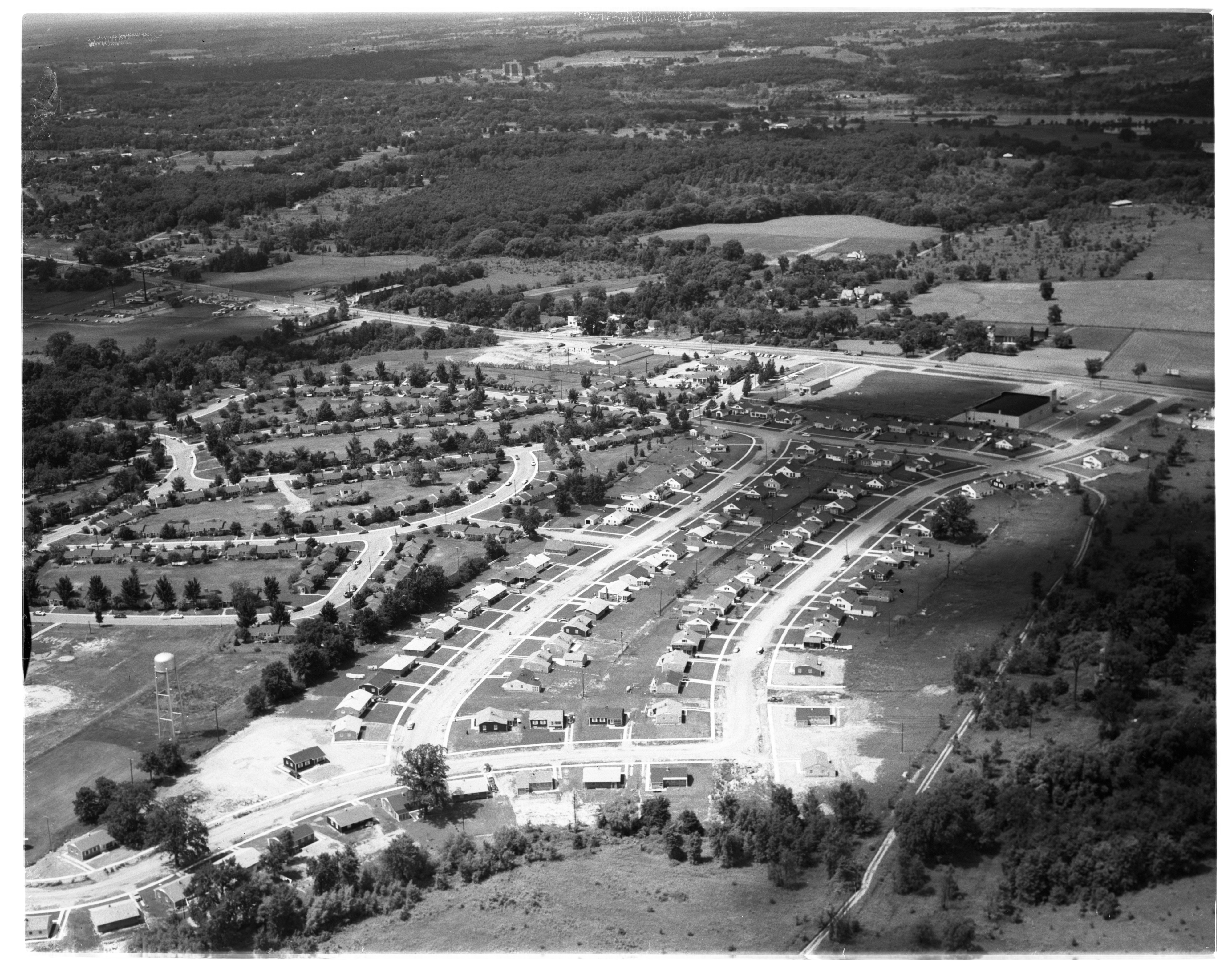 Aerial View of Pittsfield Village and Pittsfield Park, East Ann Arbor, July 1956 image