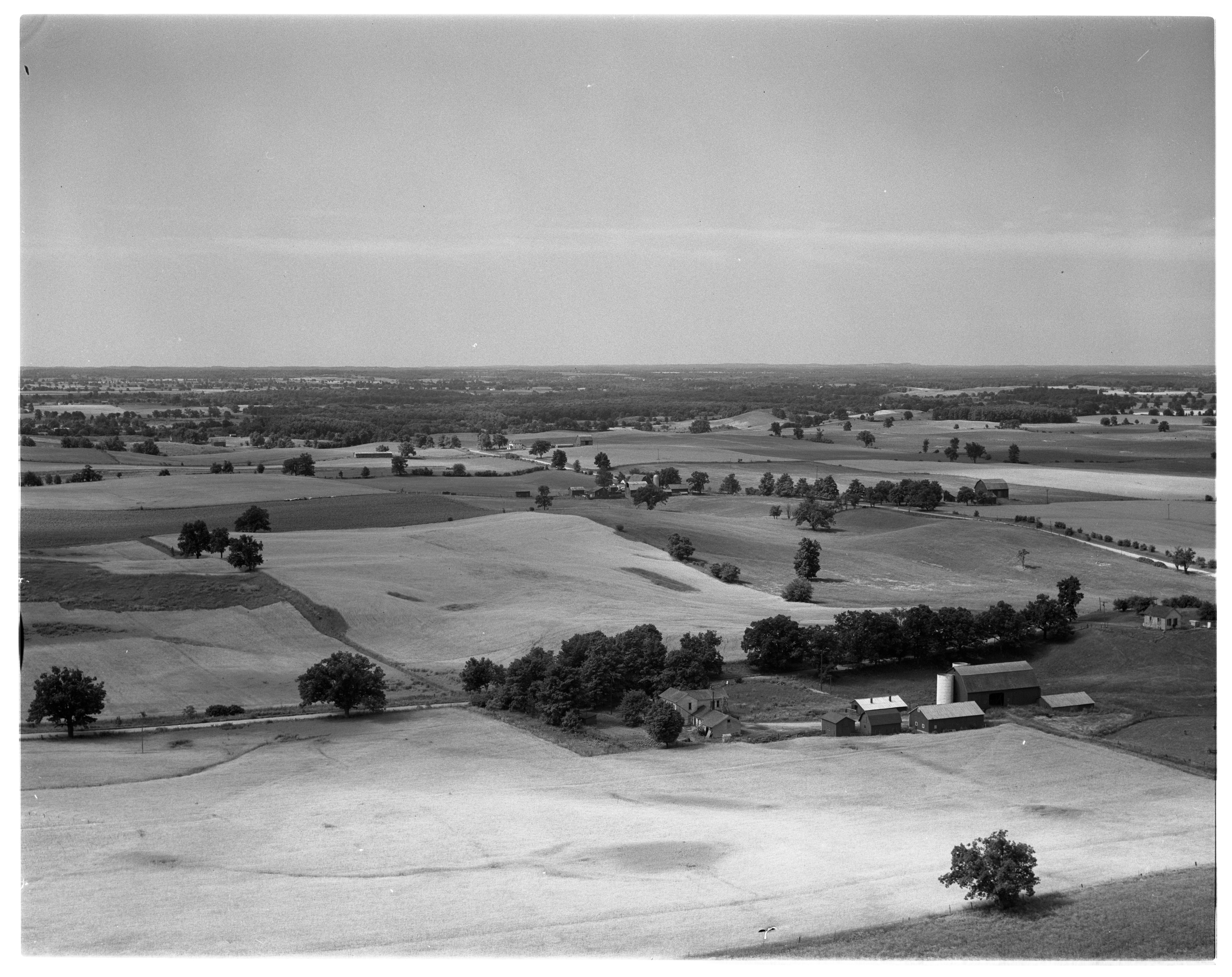 Aerial Photograph of Farm Land in Sharon Township, August 1956 image