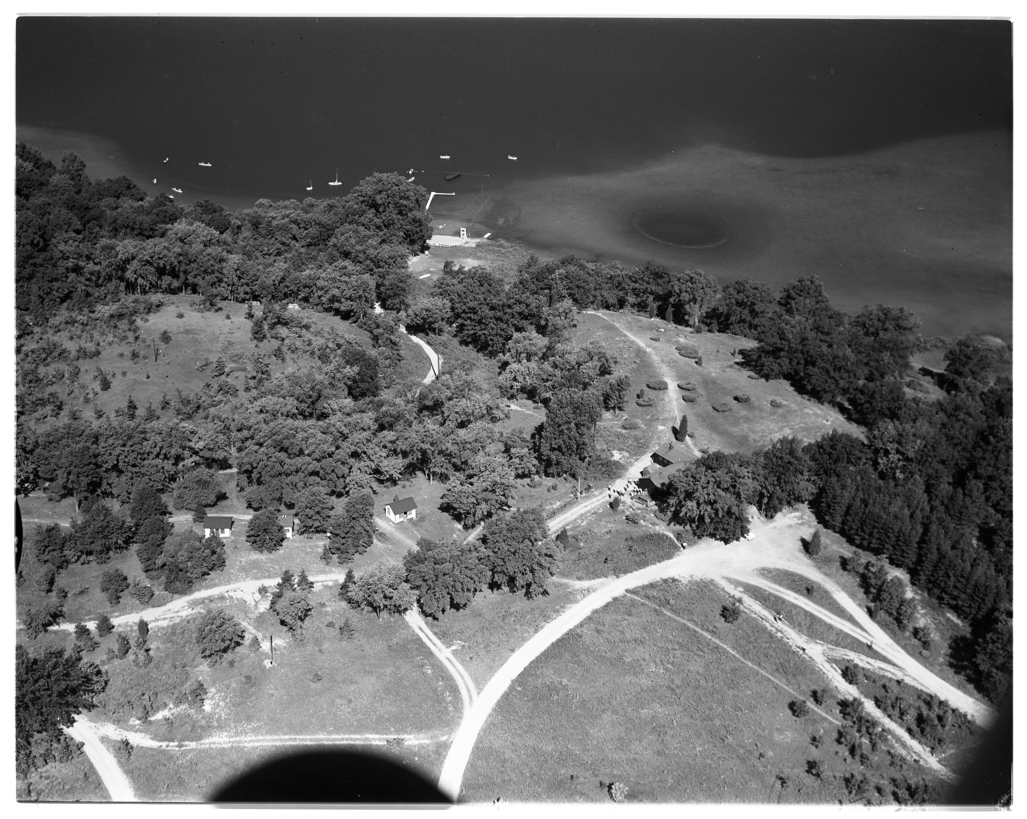 Aerial Photograph of the Bruin Lake Boy Scouts Campgrounds, Lyndon Township, September 1956 image