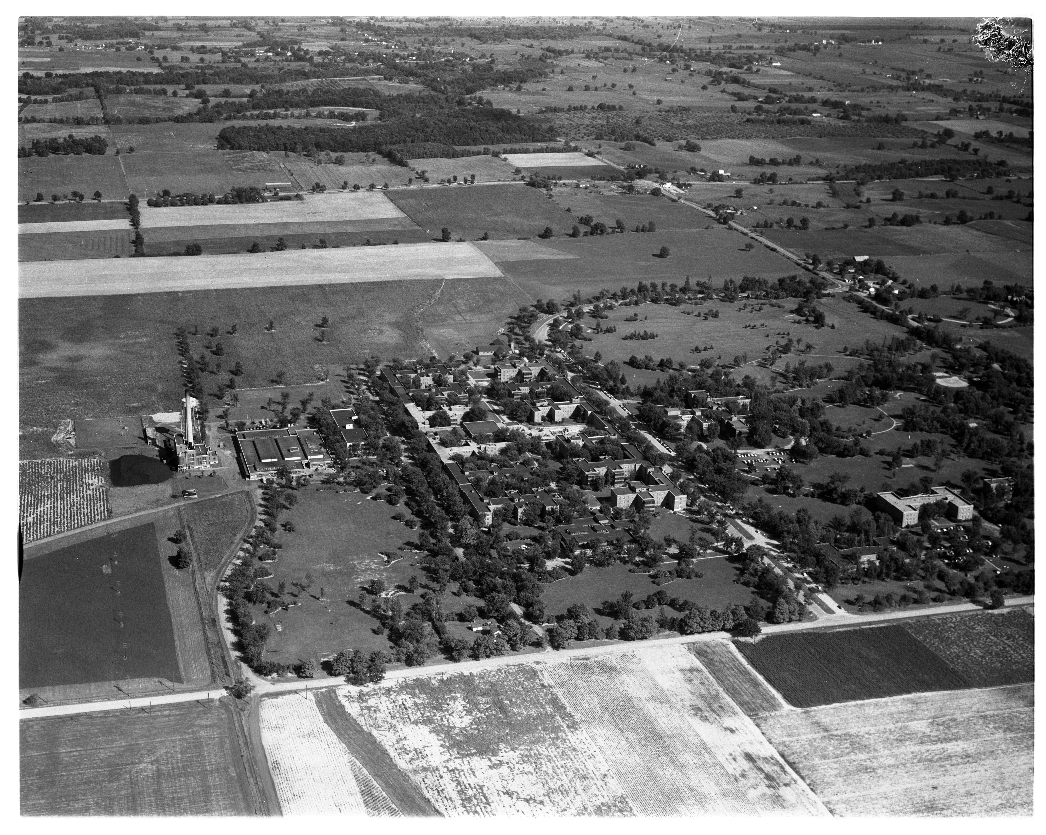Aerial Photograph of the Ypsilanti State Hospital, York Township, September 1956 image