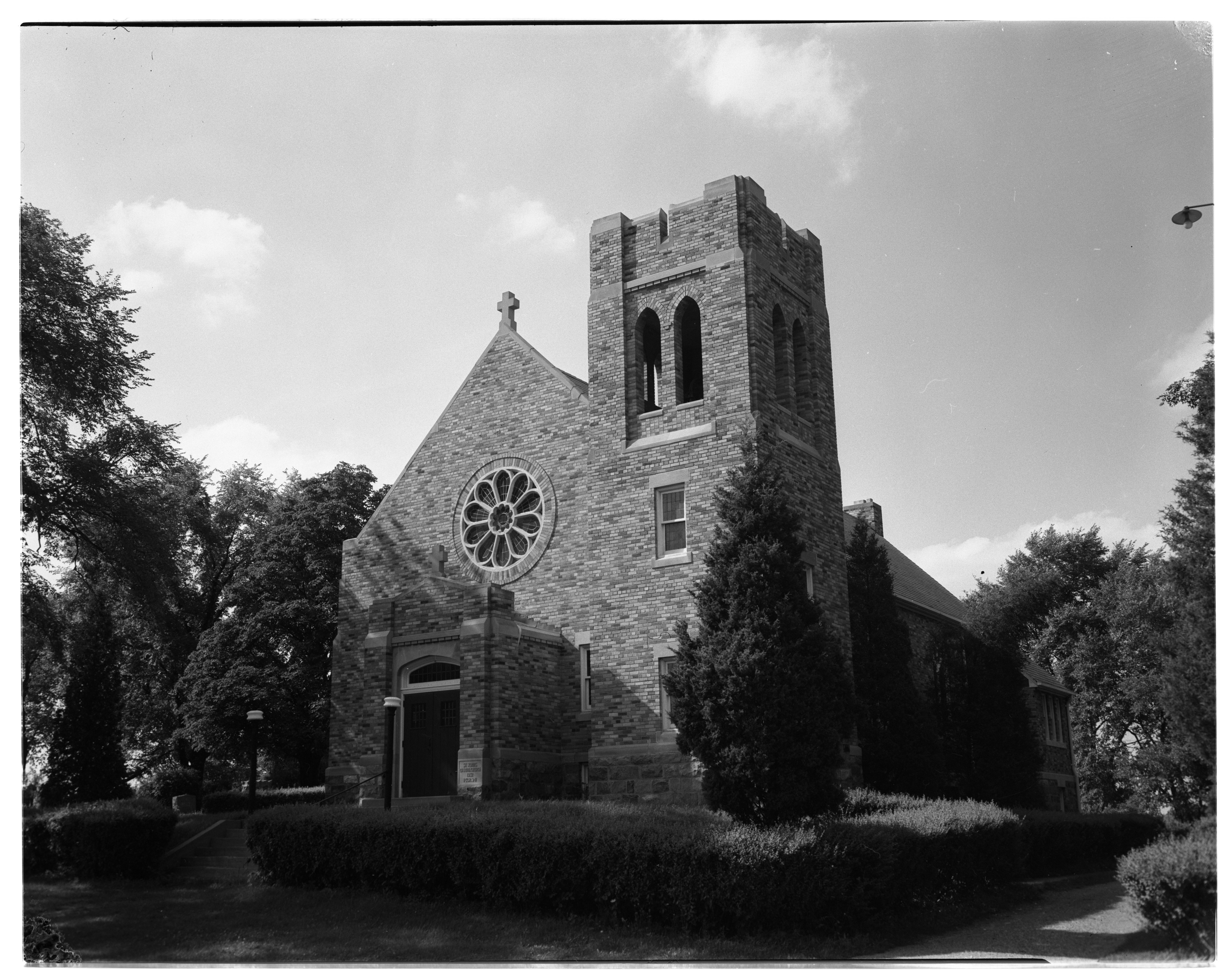 Aerial Photograph of St. John's Evangelical Lutheran Church, Northfield Township, September 1956 image