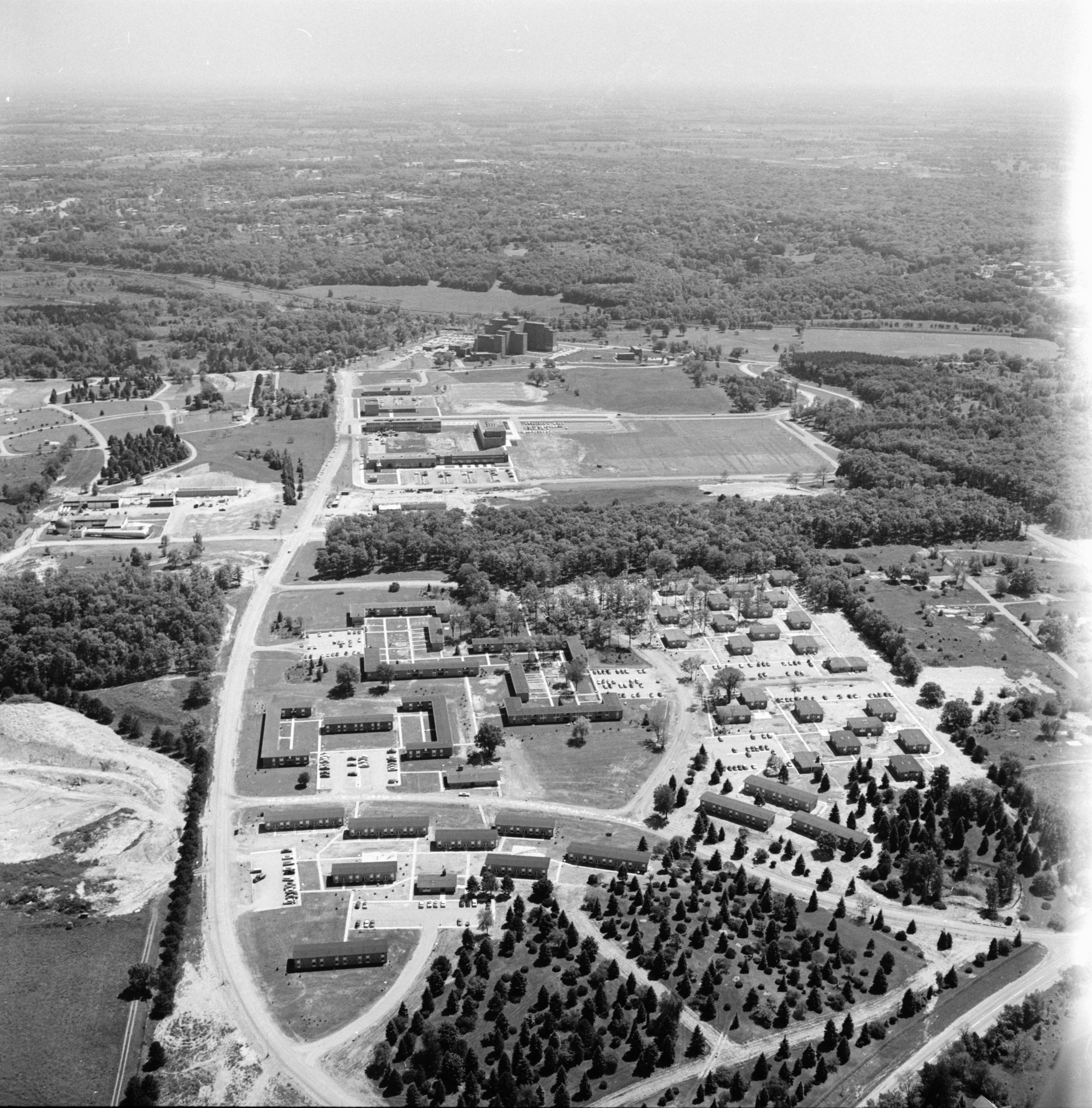 Aerial Photograph of University of Michigan North Campus and Northwood Apartments, June 1957 image