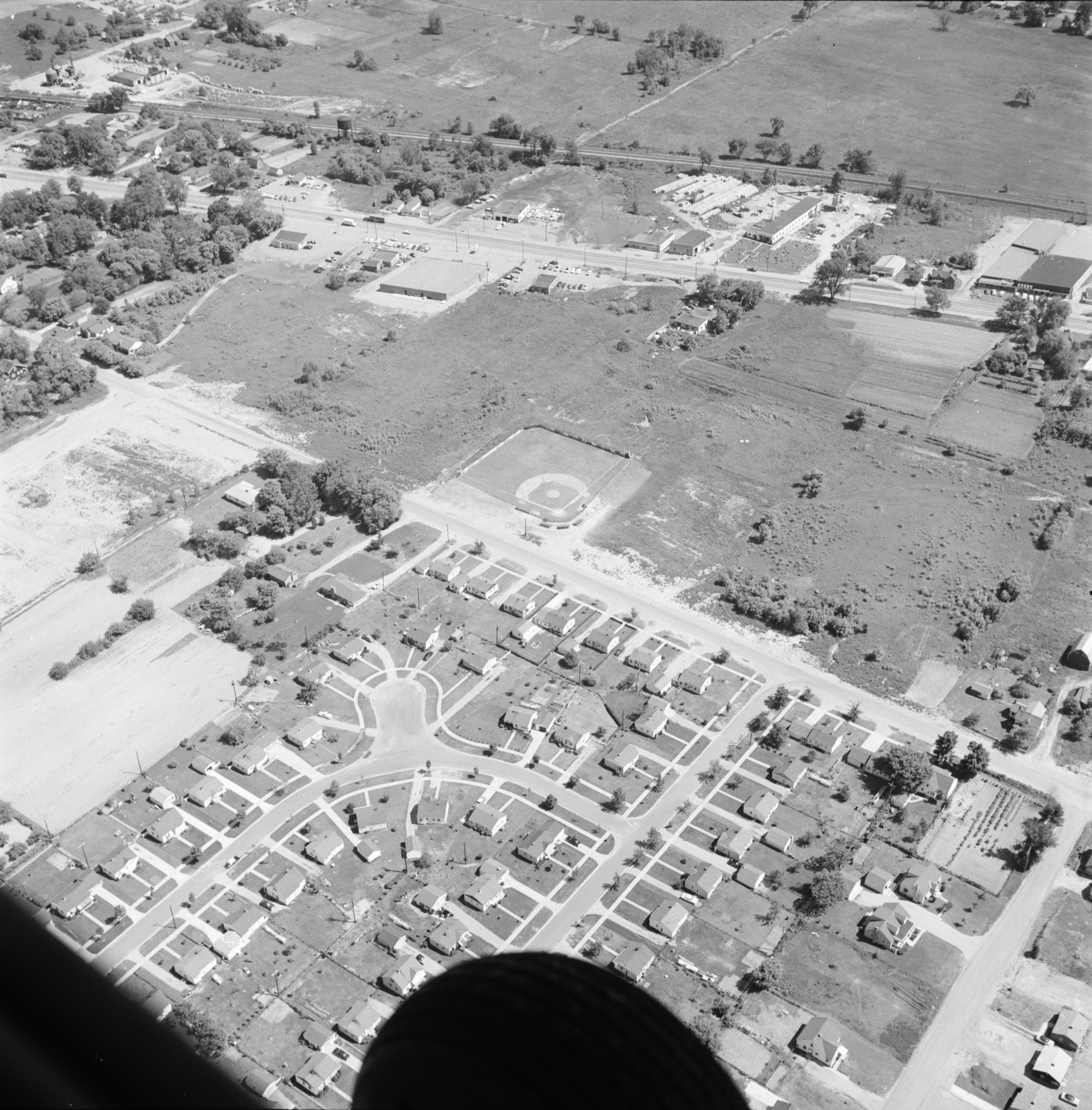 Aerial Photograph of Ypsilanti Junior High School, E. Cross St., July 1957 image
