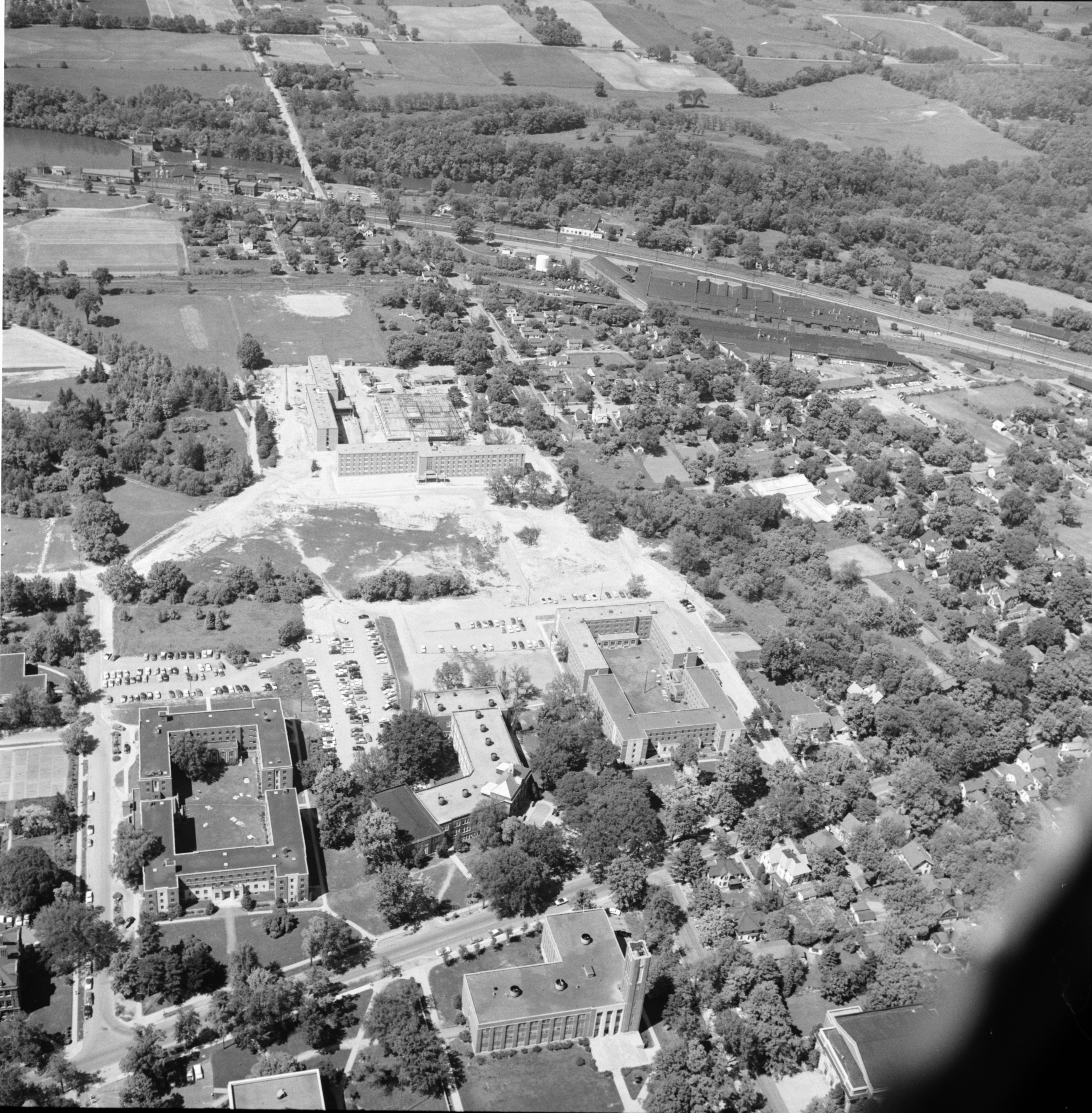 Aerial Photograph of New Dormitories at Eastern Michigan College, July 1957 image