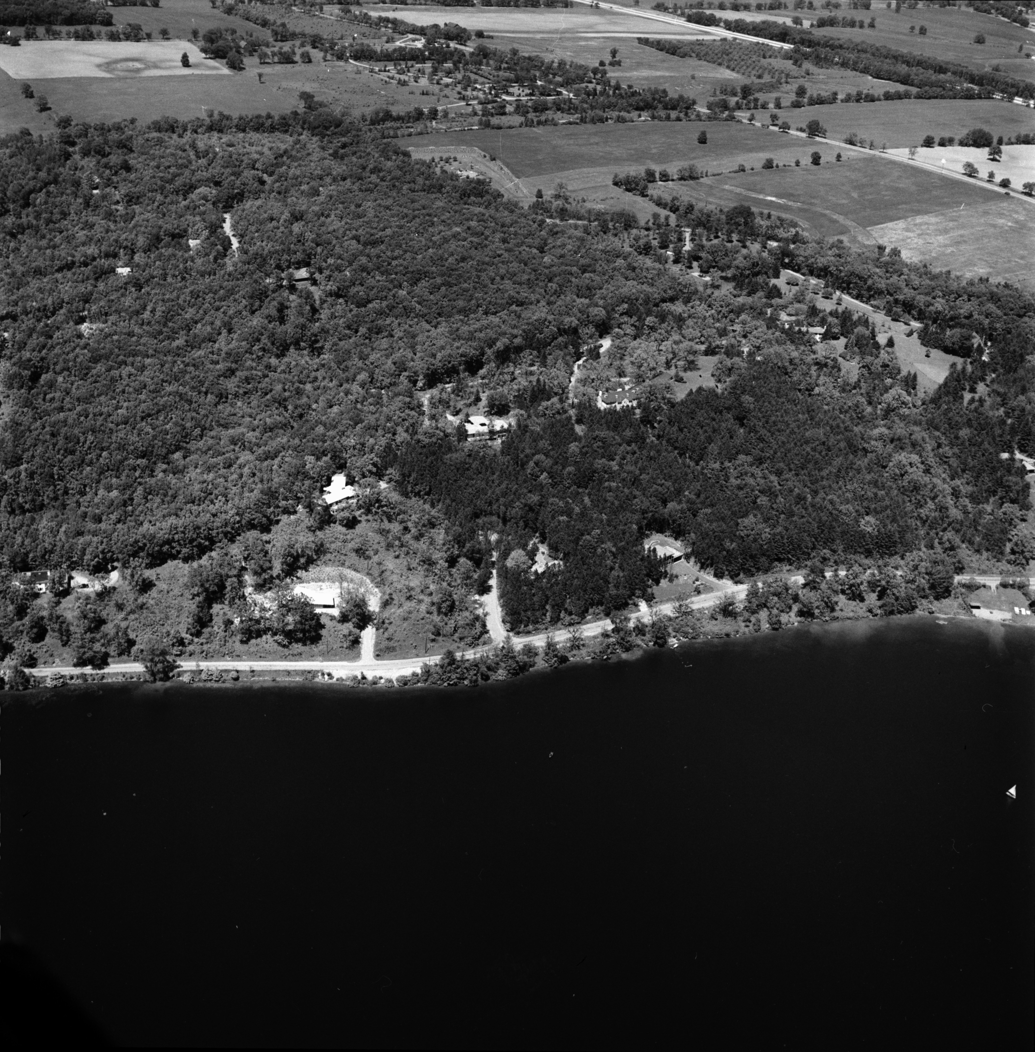 Aerial Photograph of the Huron River Along Barton Shores Drive, July 1957 image