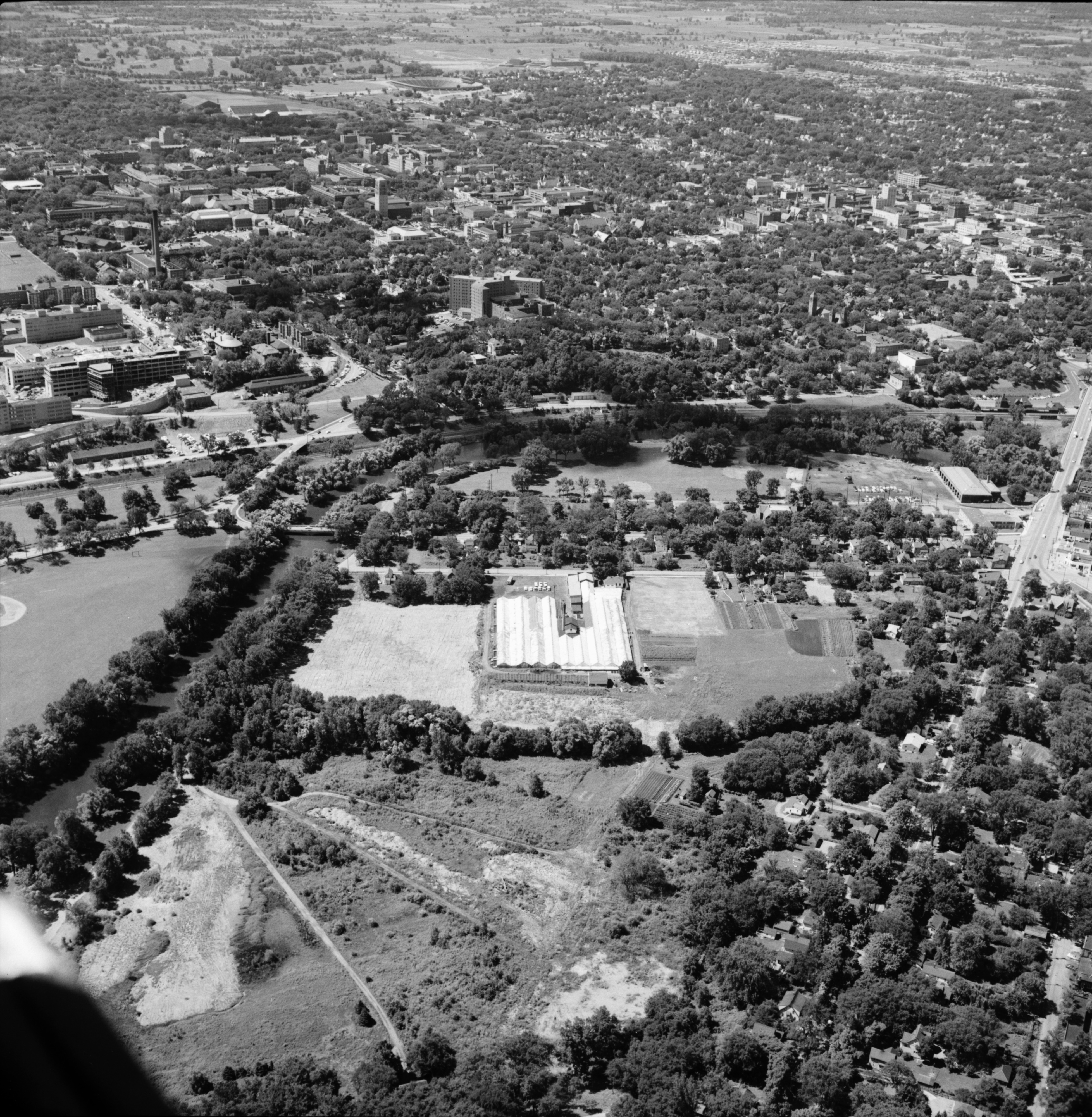 Aerial Photograph of Neilson's Greenhouse, Ann Arbor, August 1957 image