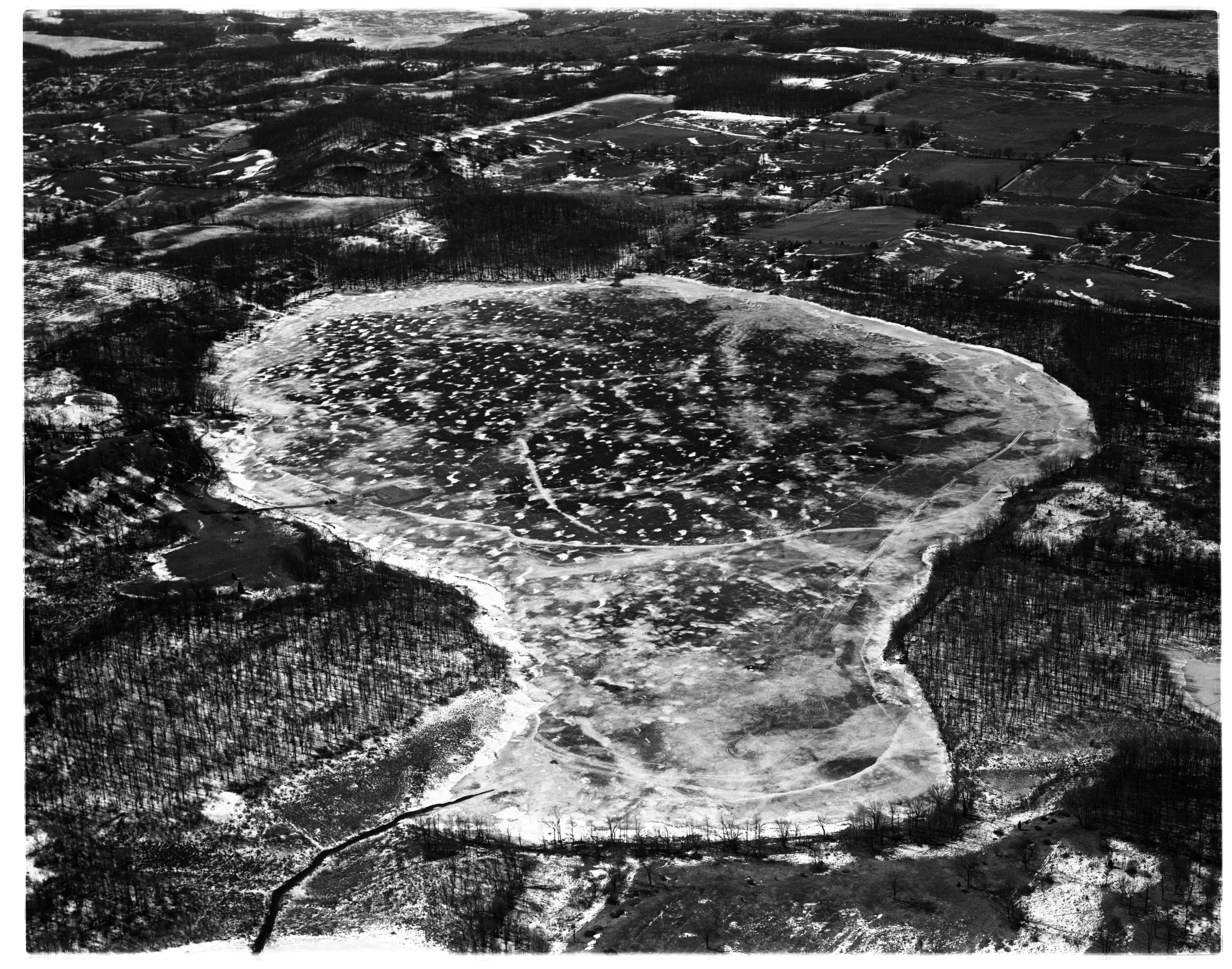 Aerial Photograph of Pinckney Recreation Area's Bruin Lake, February 1958 image
