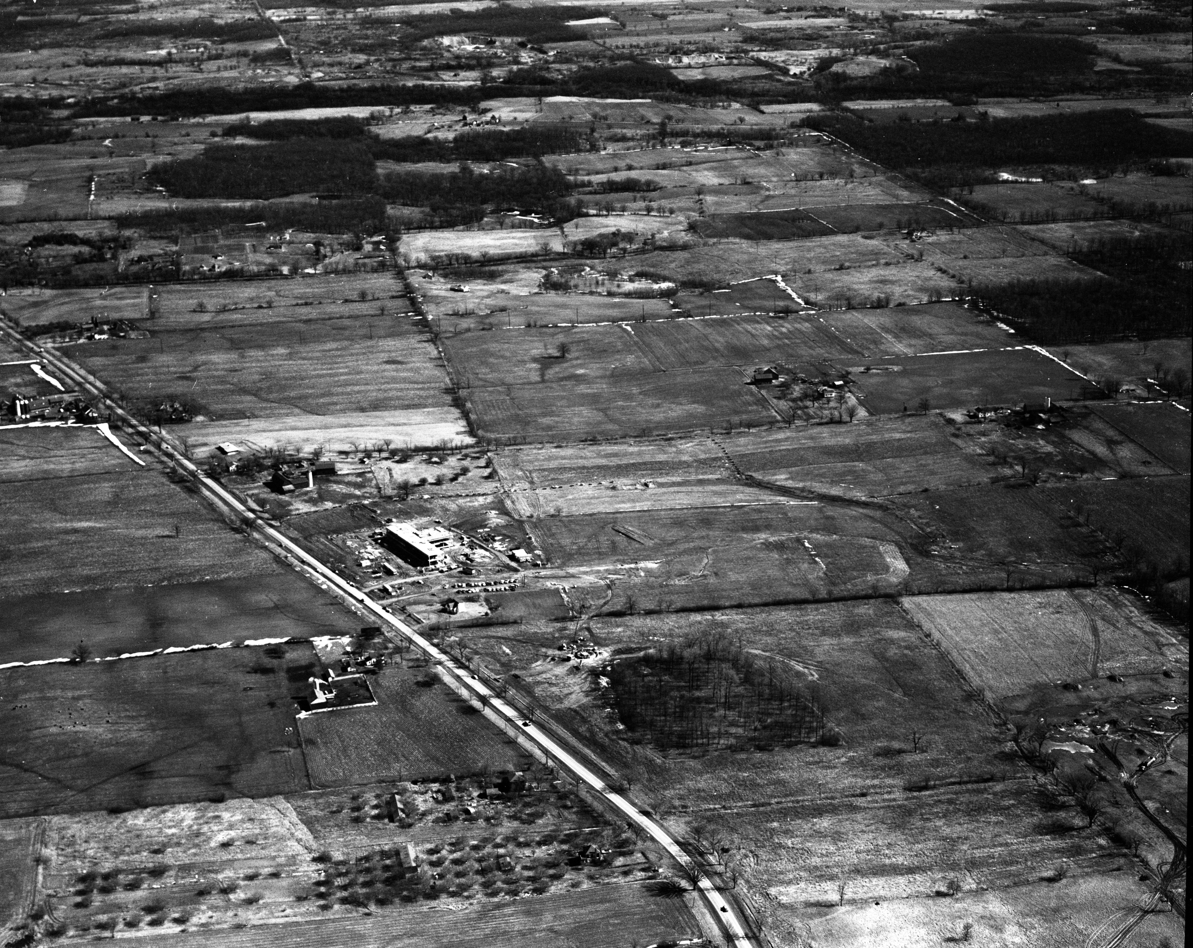 Aerial view of Bendix Building on North Campus, February 1958 image