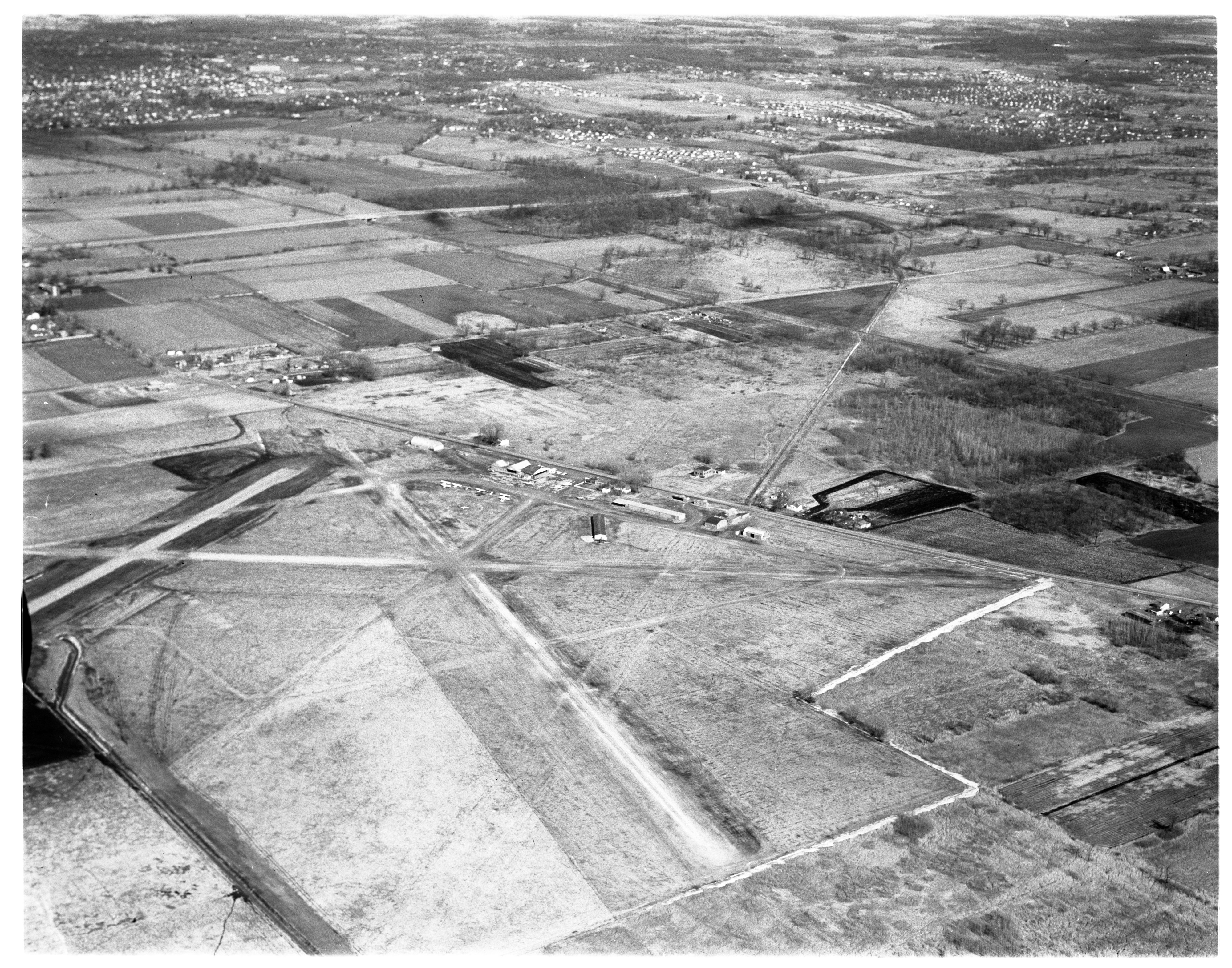 Aerial Photograph of Ann Arbor Airport, February 1958 image