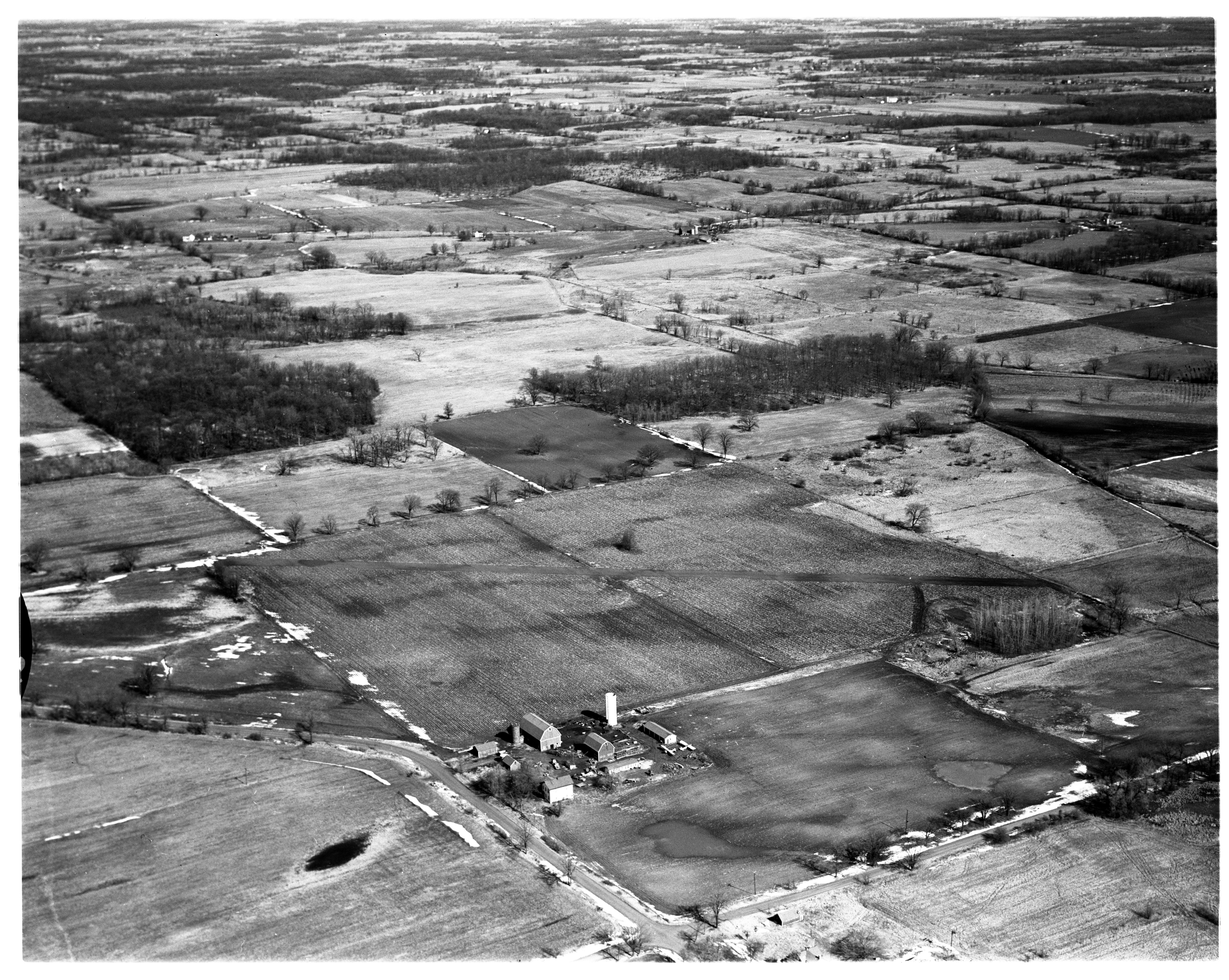 Aerial Photograph of Northfield Township Airstrip on the Nollar Farm, March 1958 image
