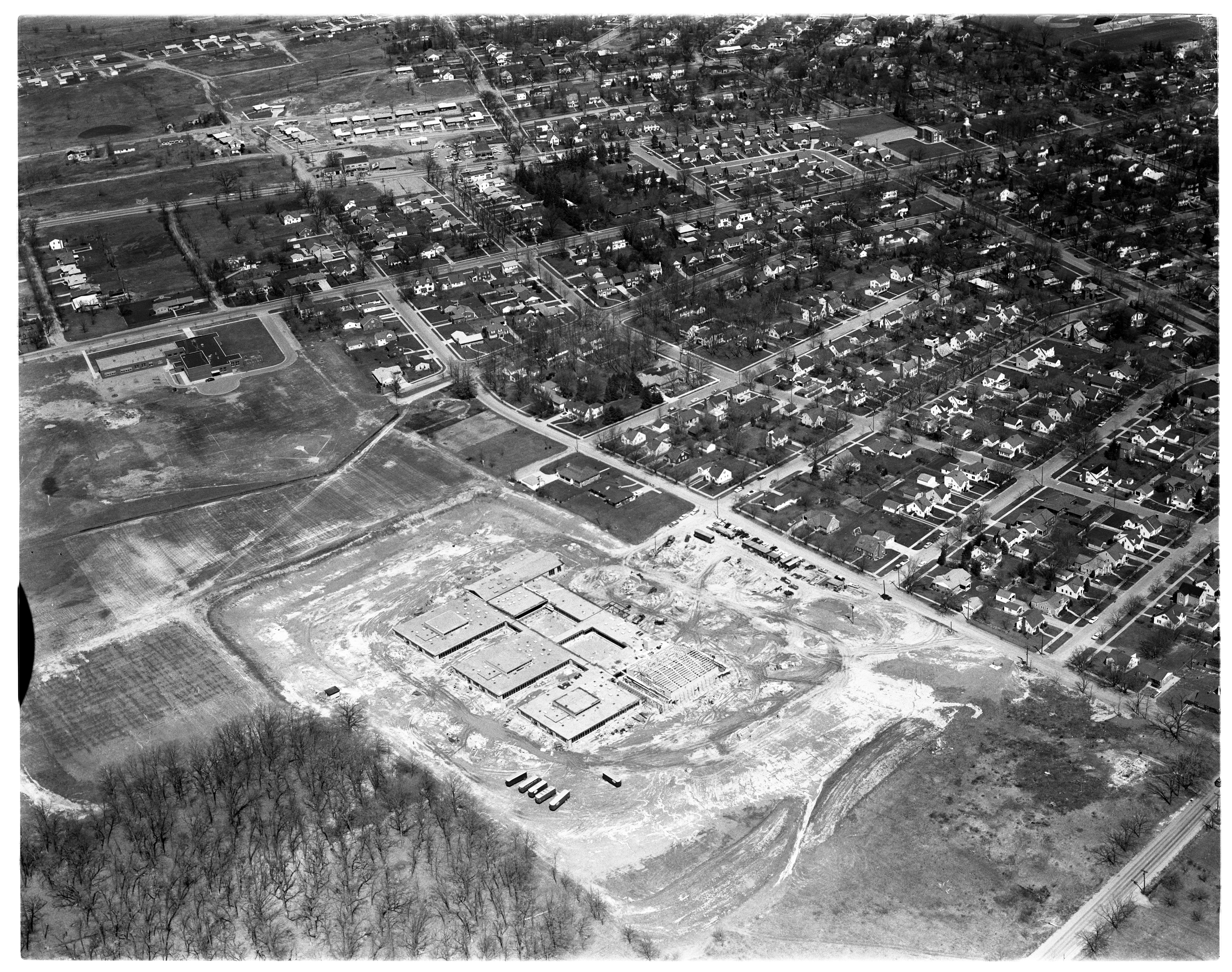 Aerial Photograph of Ypsilanti's West Junior High School, April 1959 image