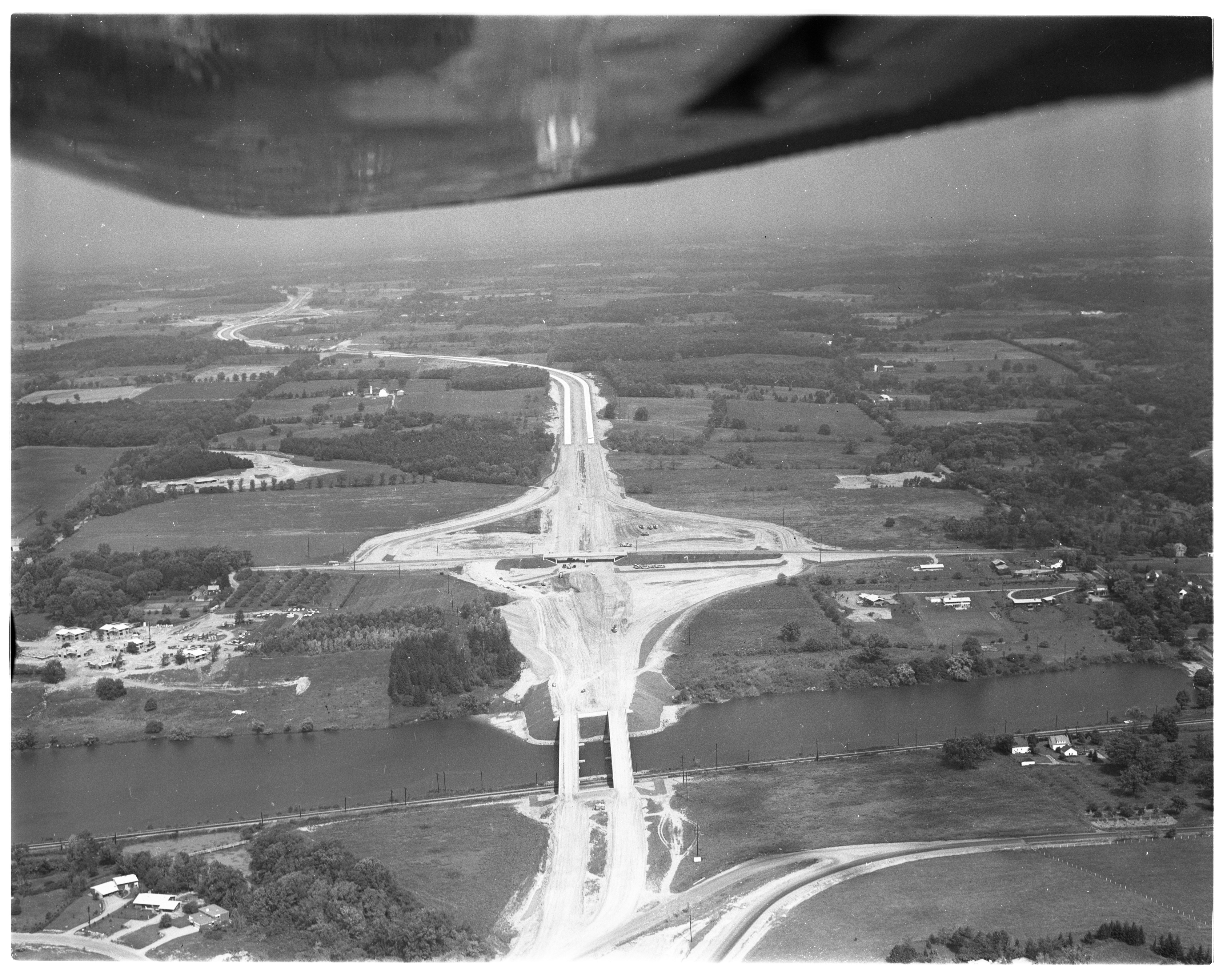 Aerial Photograph of the Ann Arbor Eastbelt Bypass over Geddes Road, September 1962 image