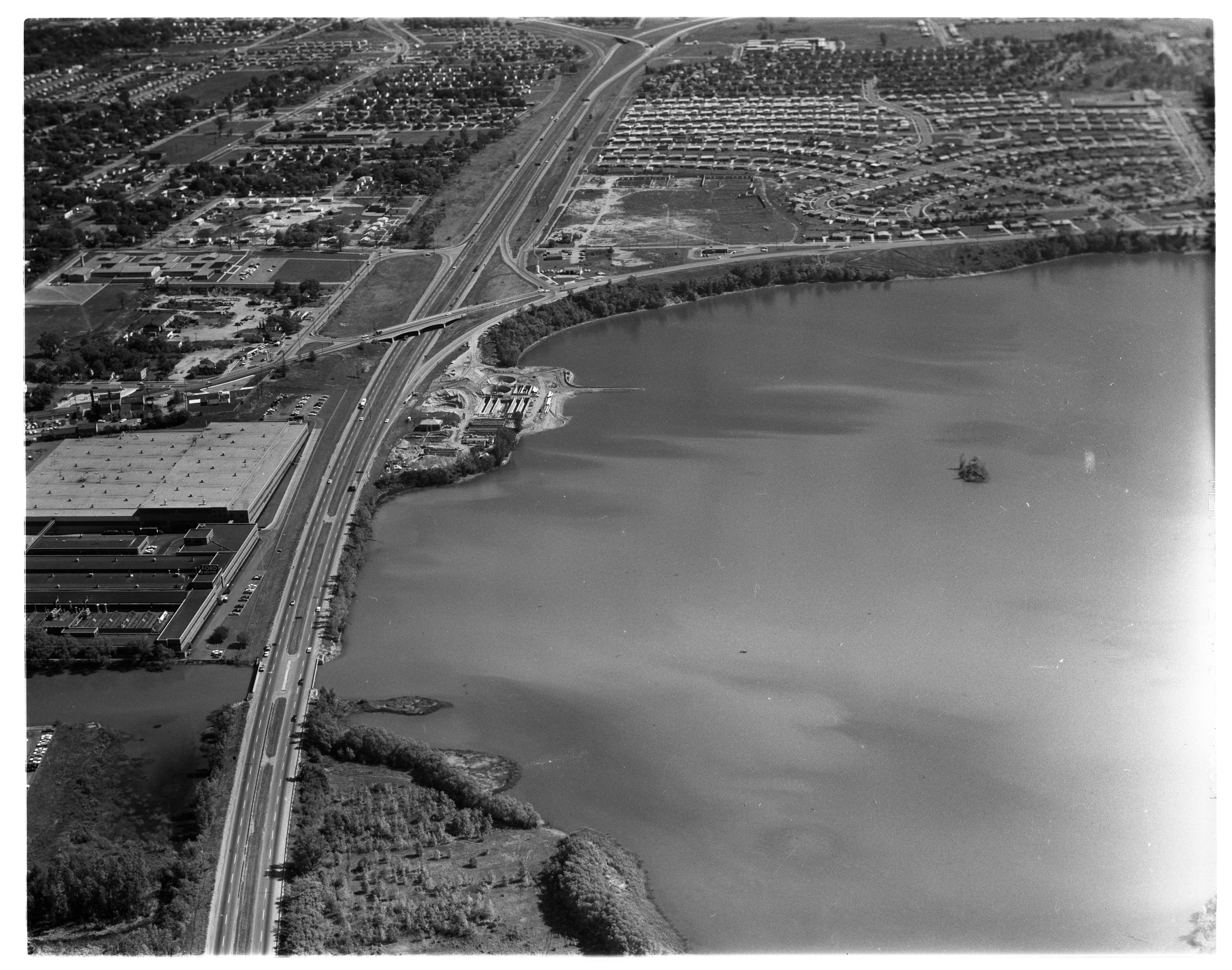 Aerial Photograph of Ypsilanti's Sewage Plant, October 1962 image