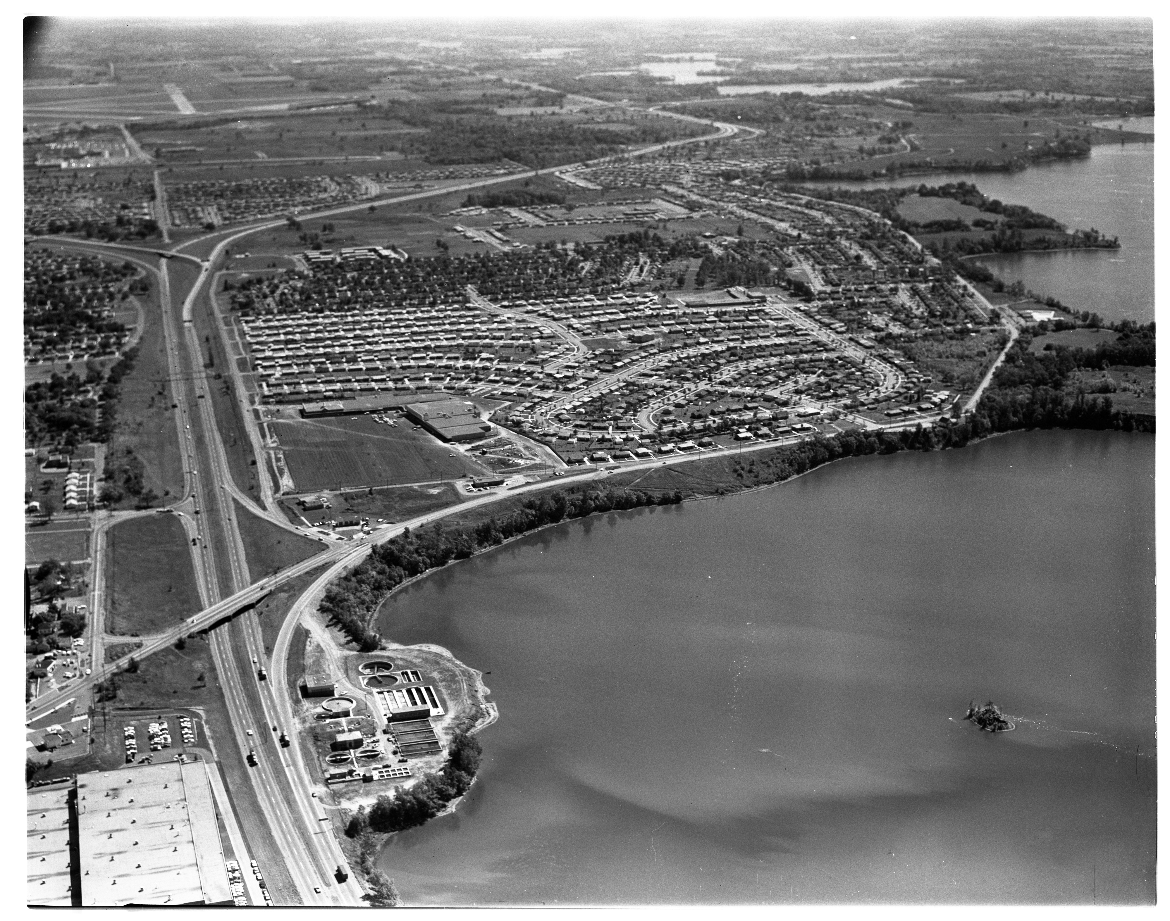 Aerial Photograph of Construction in Ypsilanti, September 1963 image