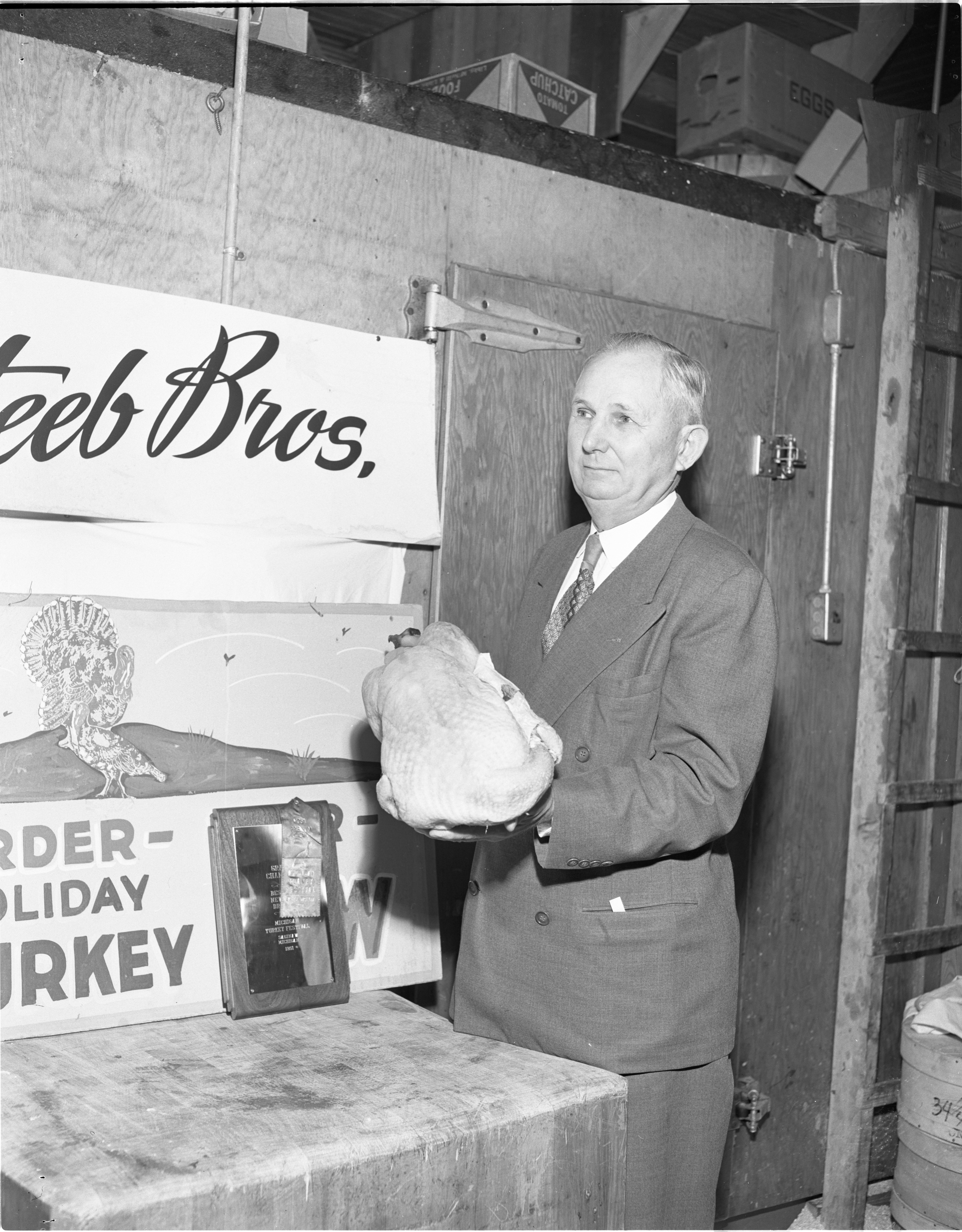Delbert W. Smith And His Prize Winning Turkey, December 1951 image