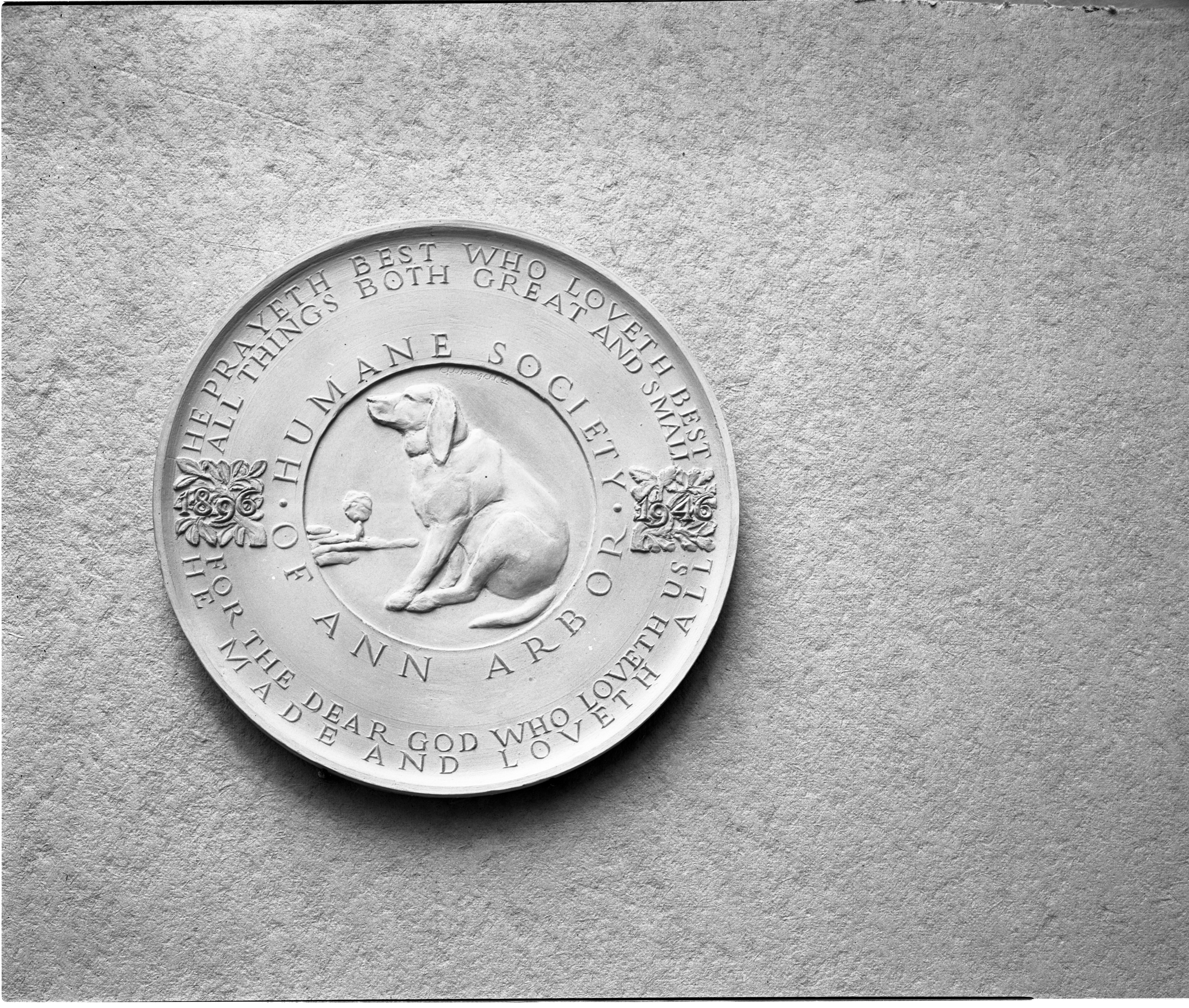 Plaque Commemorates Ann Arbor Humane Society's 50th Anniversary, October 1946 image