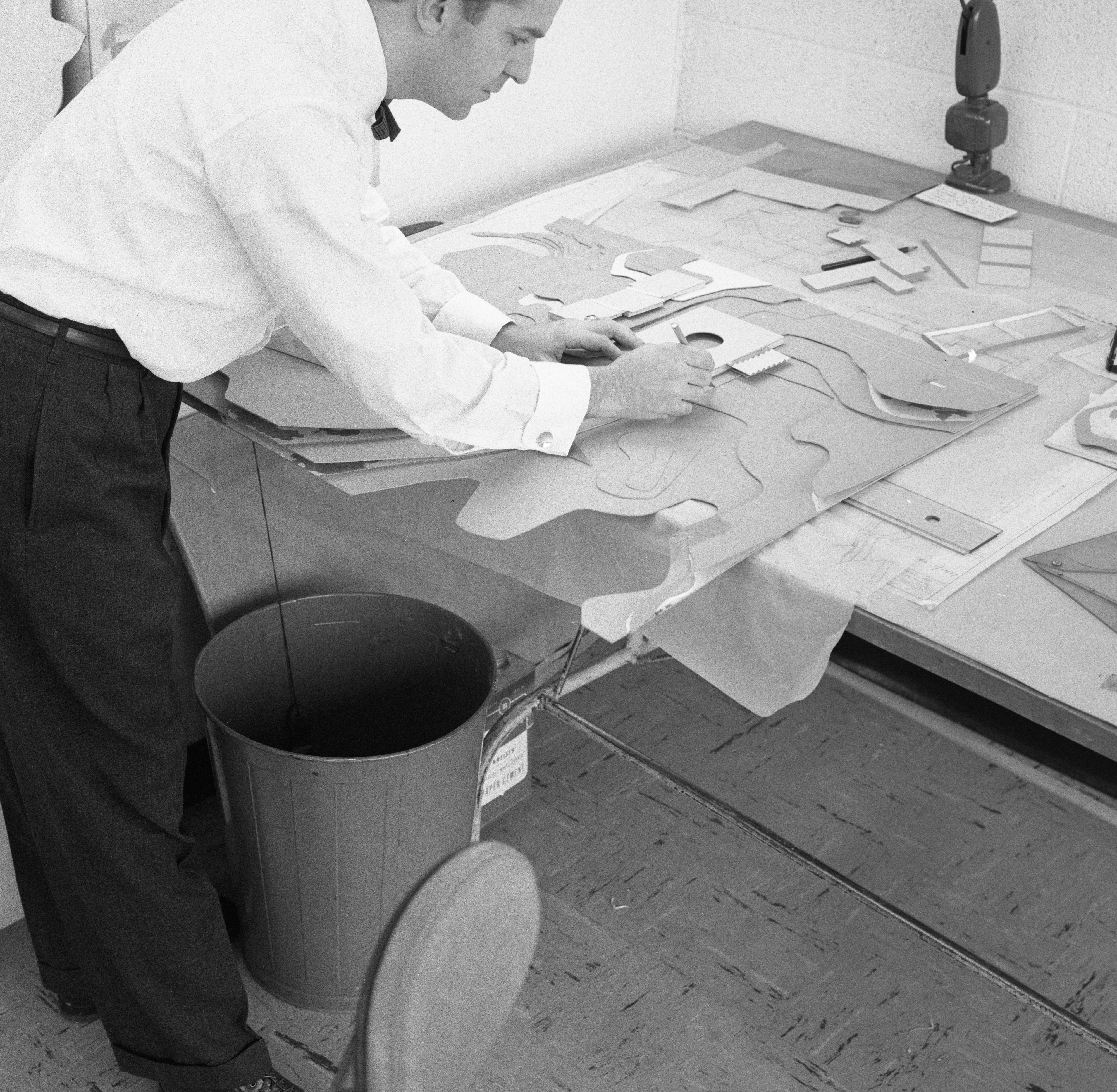 Richard Millman Works On Three-Dimensional Design For New Junior High School On Northwest Side of Ann Arbor, December 1957 image