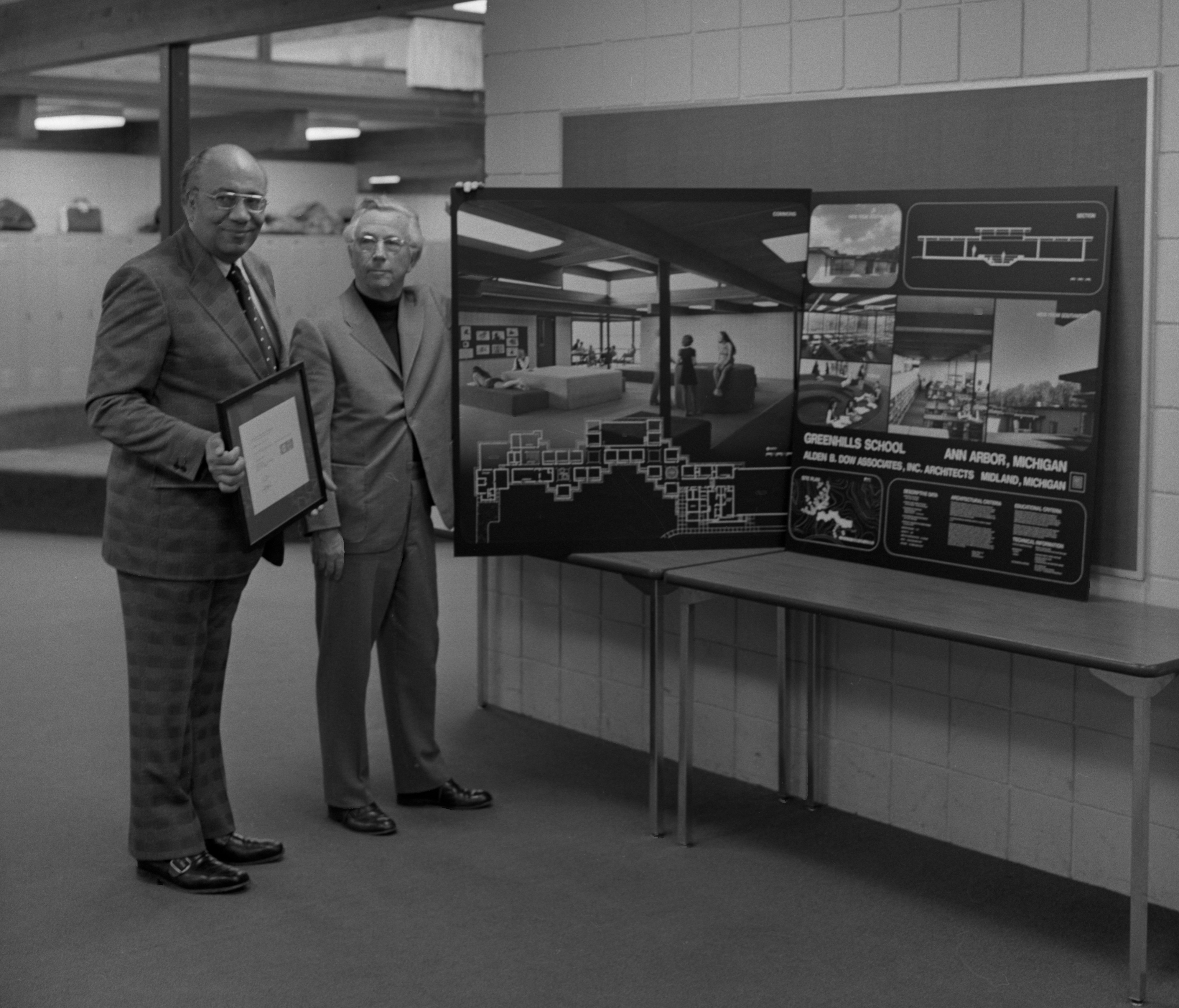 Ralph Gibson (left) & Alden B. Dow With Greenhills School Photography Exhibit, January 23, 1974 image