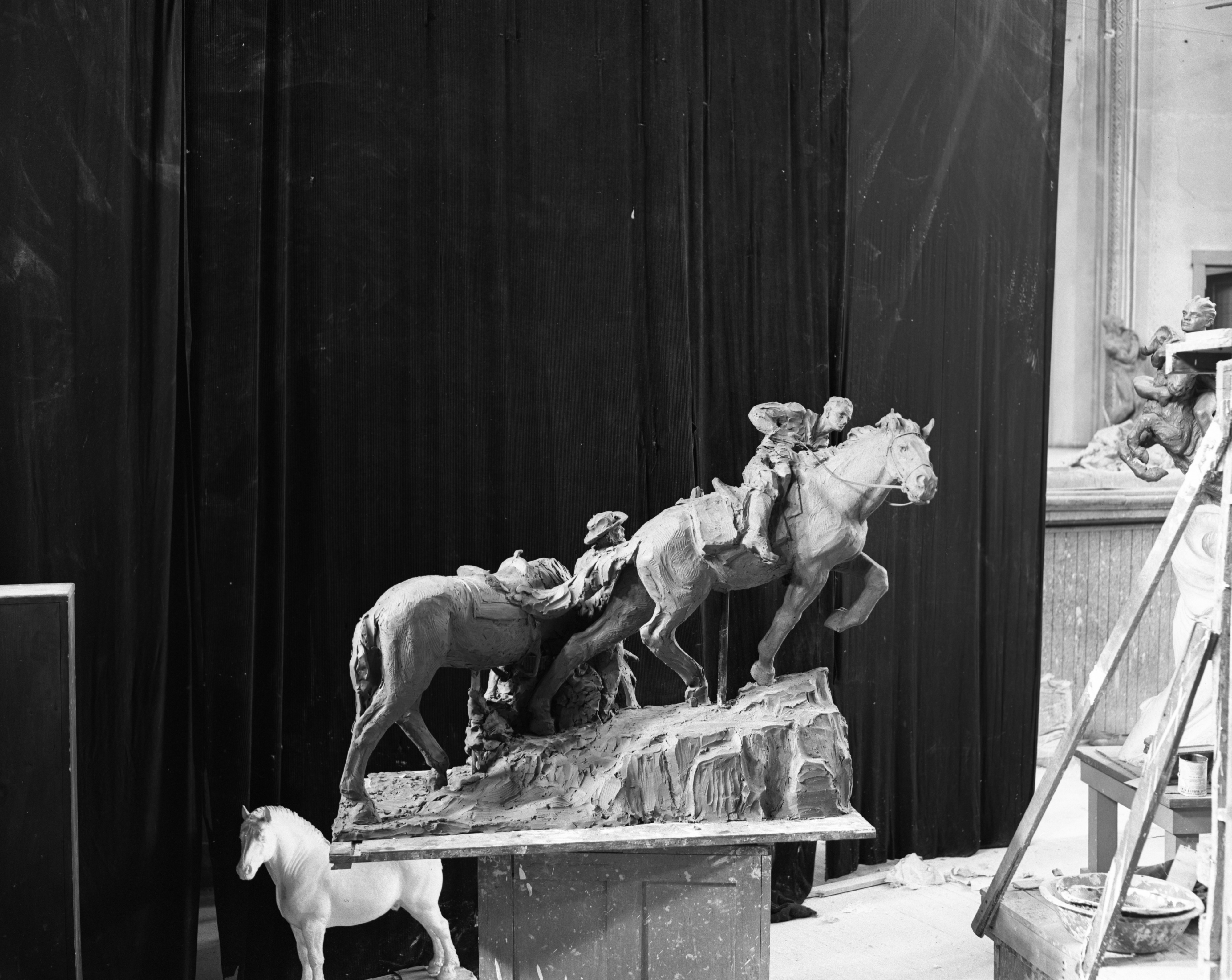 "Avard Fairbanks's Sculpture ""Pony Express,"" August 1947 image"